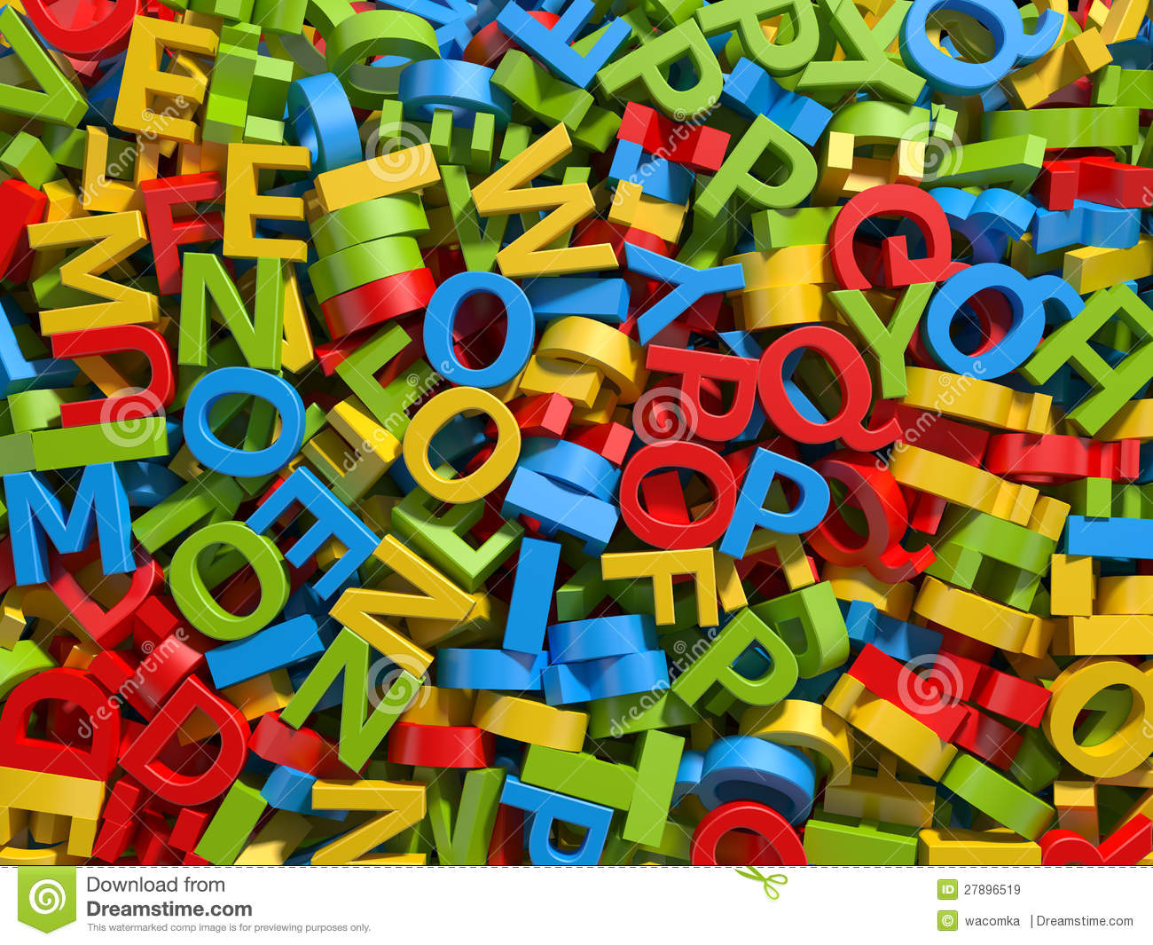 Mixed Colorful Letters Background Stock Illustration