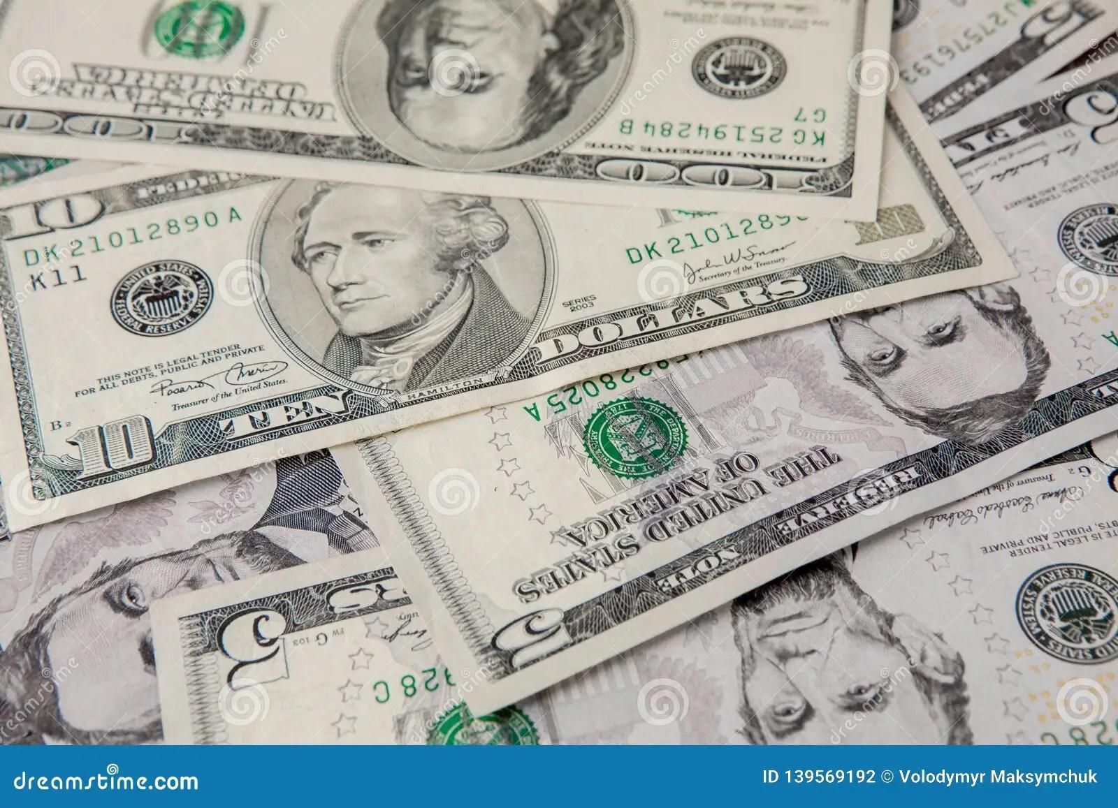 Mixed Dollar Money Background Close Up Of Dollars