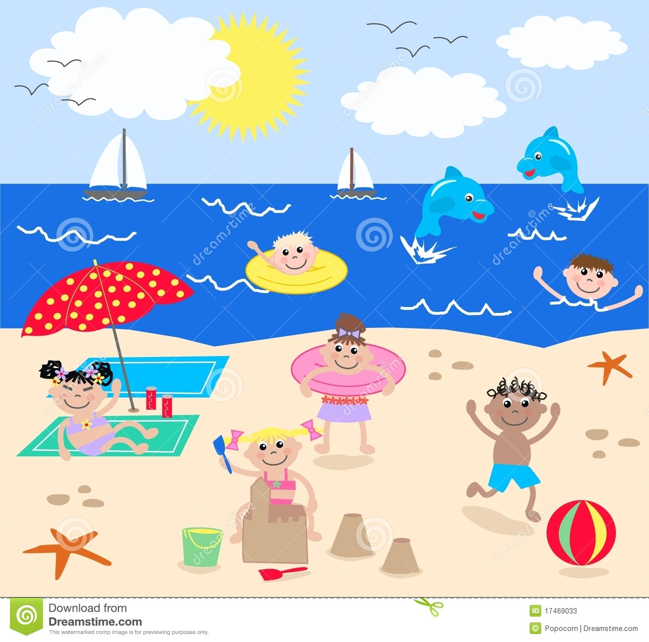 Mixed Kids On The Beach Stock Vector Illustration Of