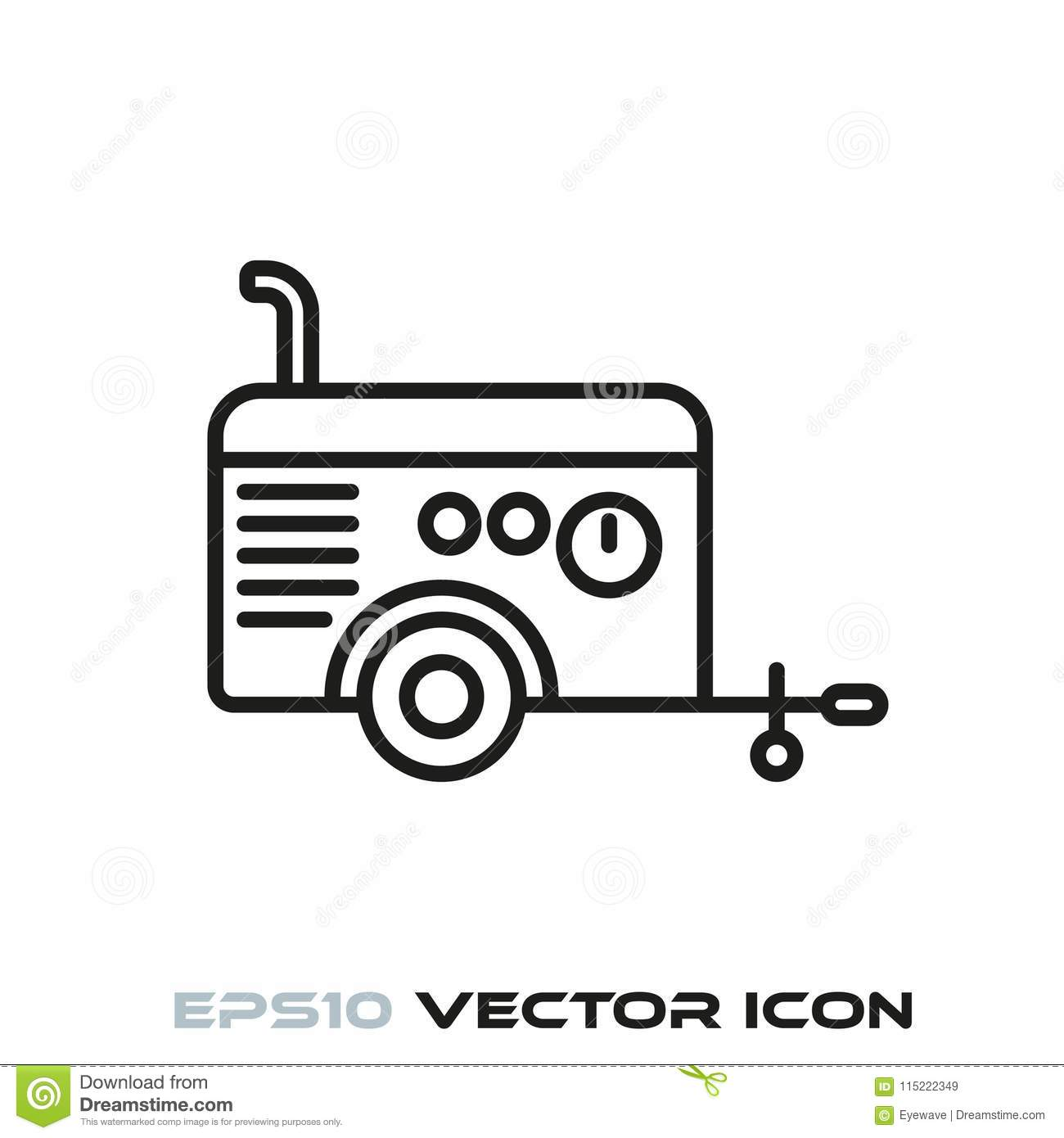 Mobile Air Compressor Line Icon Stock Vector