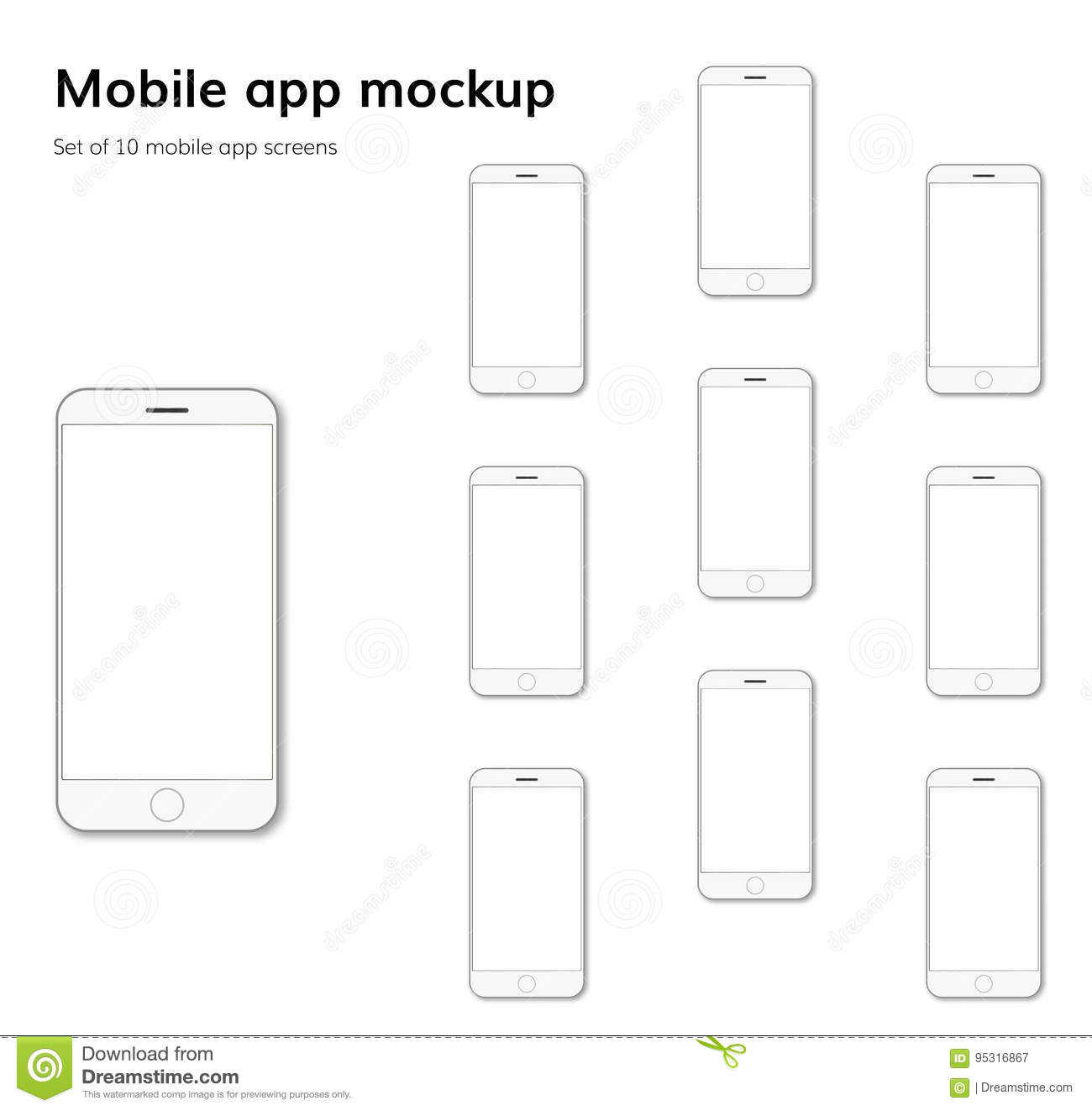 Mobile Application Screens Mockup Vector Stock Vector