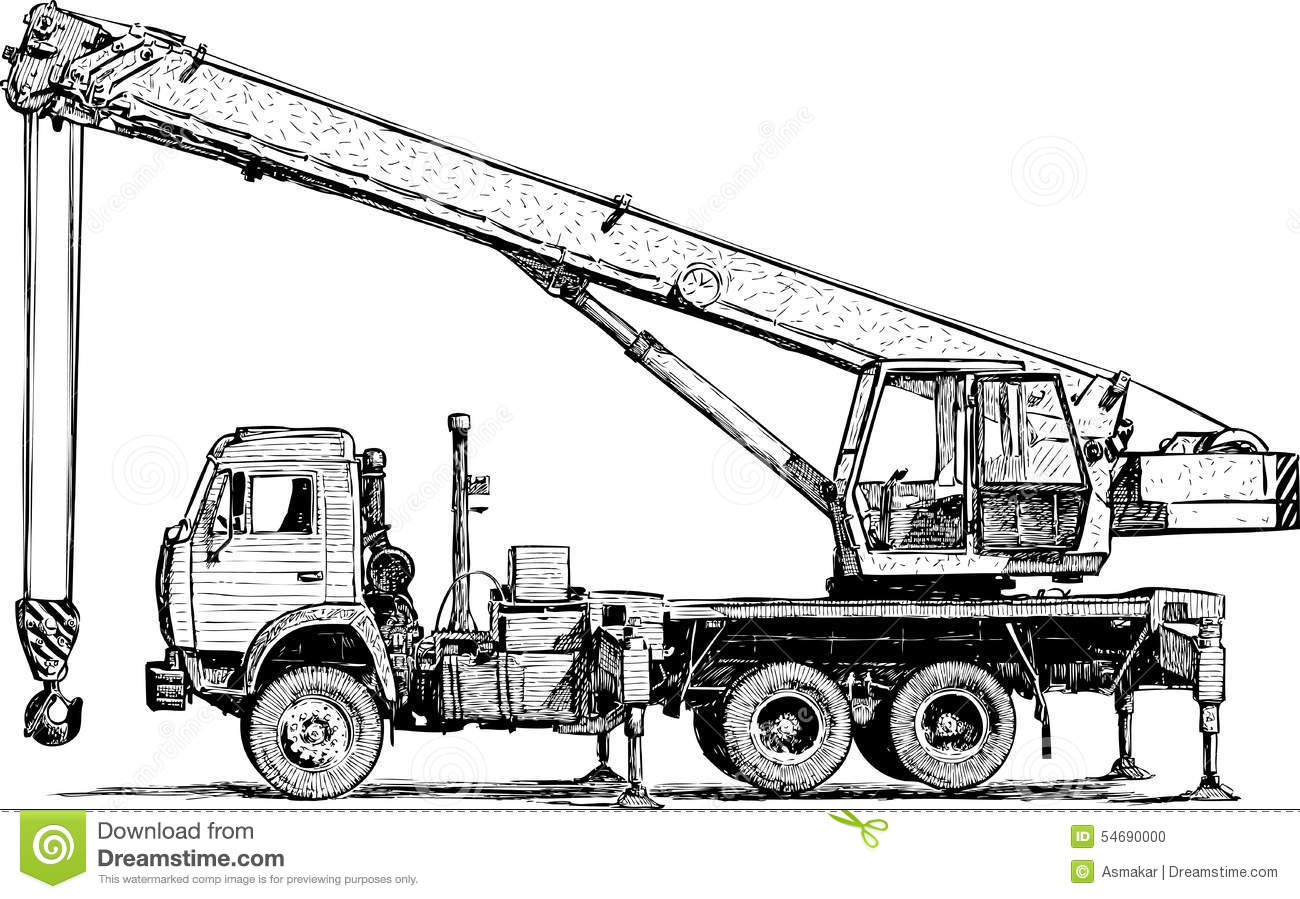 Mobile Crane Stock Vector