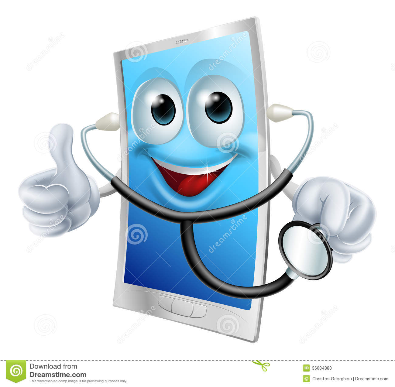 Mobile Phone Character Holding A Stethoscope Stock Photo