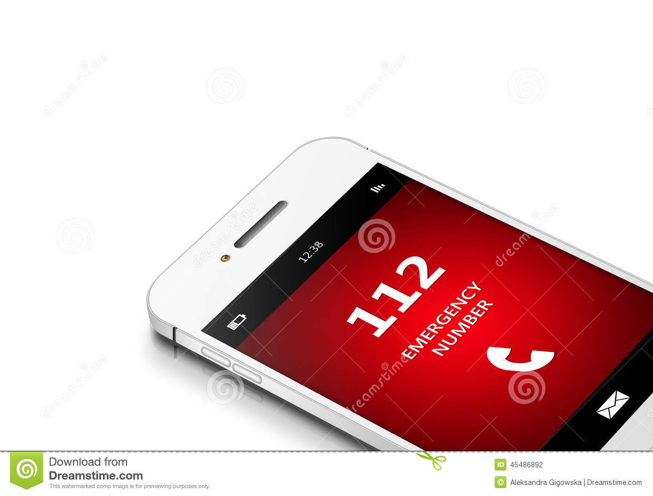 Mobile Phone With 112 Emergency Number Over White Stock