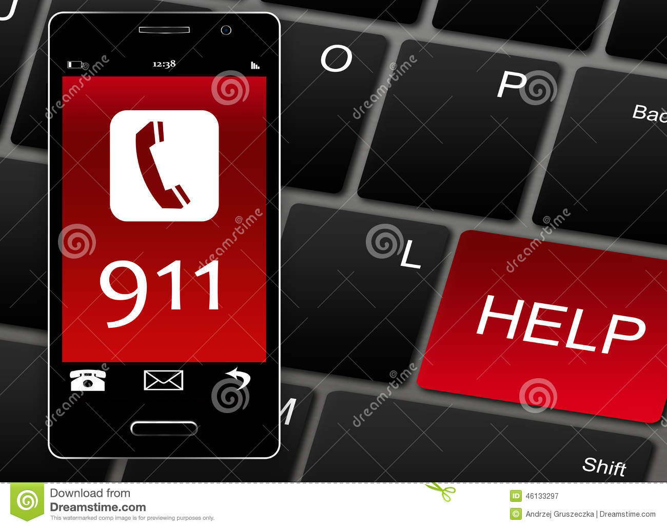 Mobile Phone With 911 Emergency Number Over White Stock