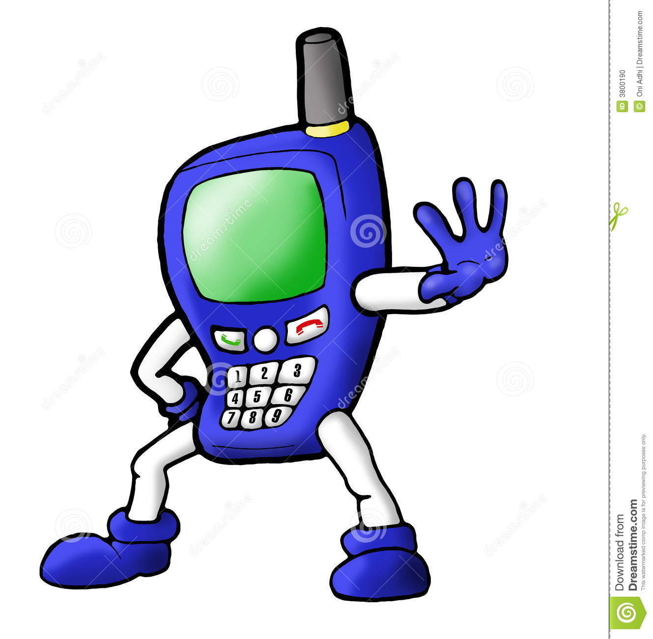Mobile Telephone Character Stock Illustration