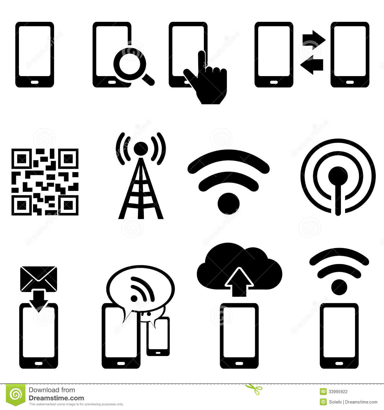 Mobile And Wifi Icon Set Stock Vector Illustration Of
