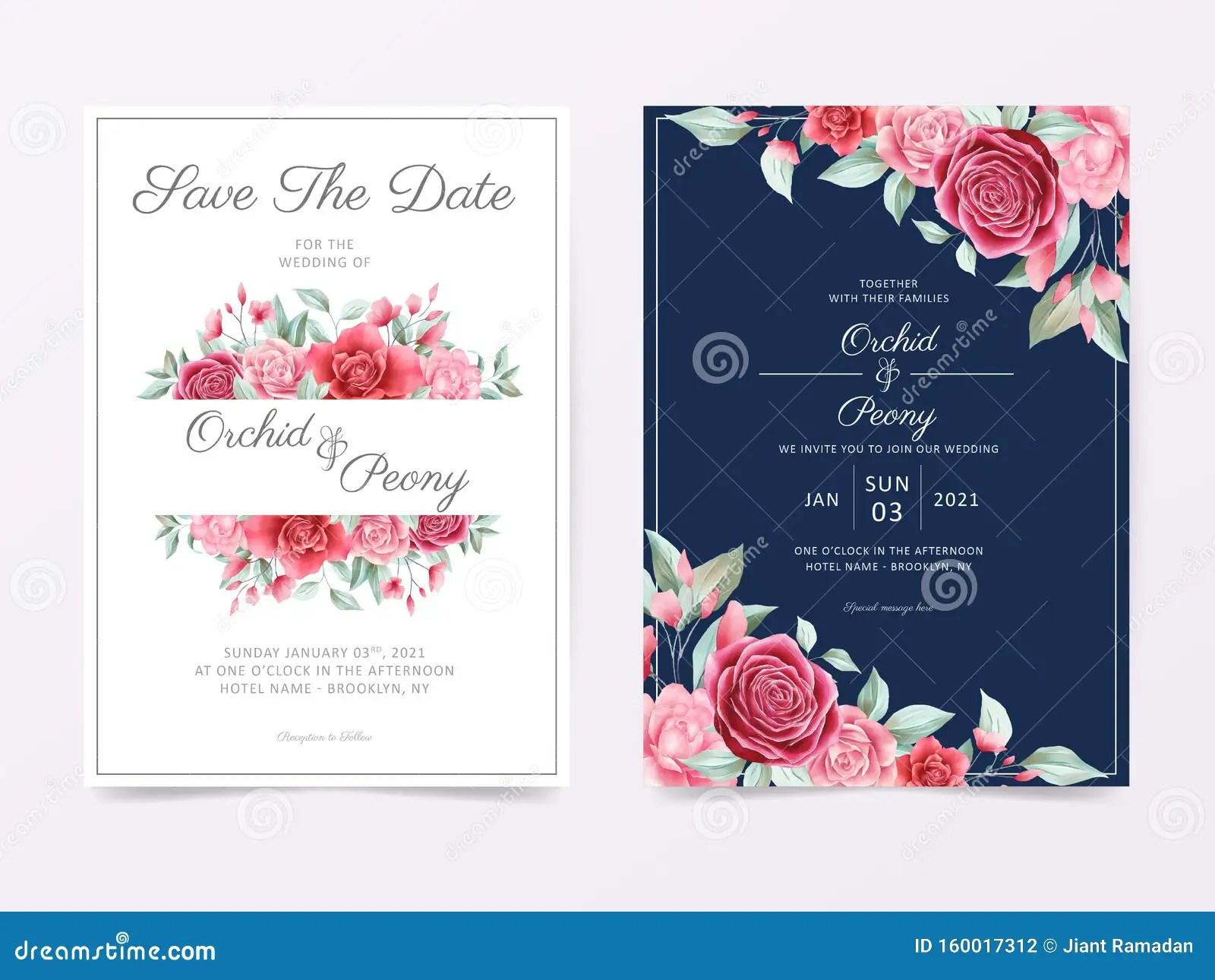 invitation de mariage avec cadre fleuri