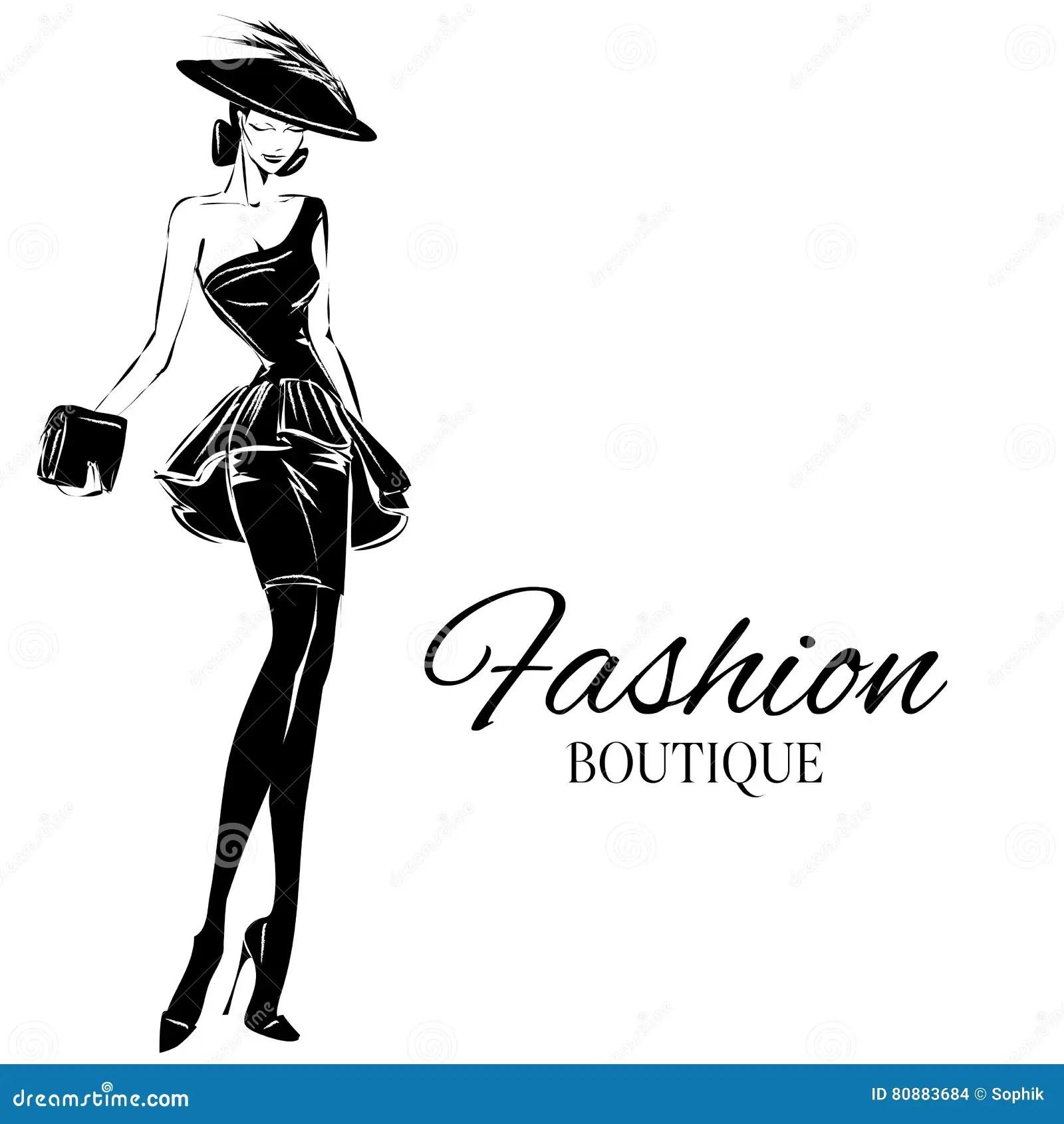 Modele Noir Et Blanc De Femme De Mode Avec Le Fond De Logo