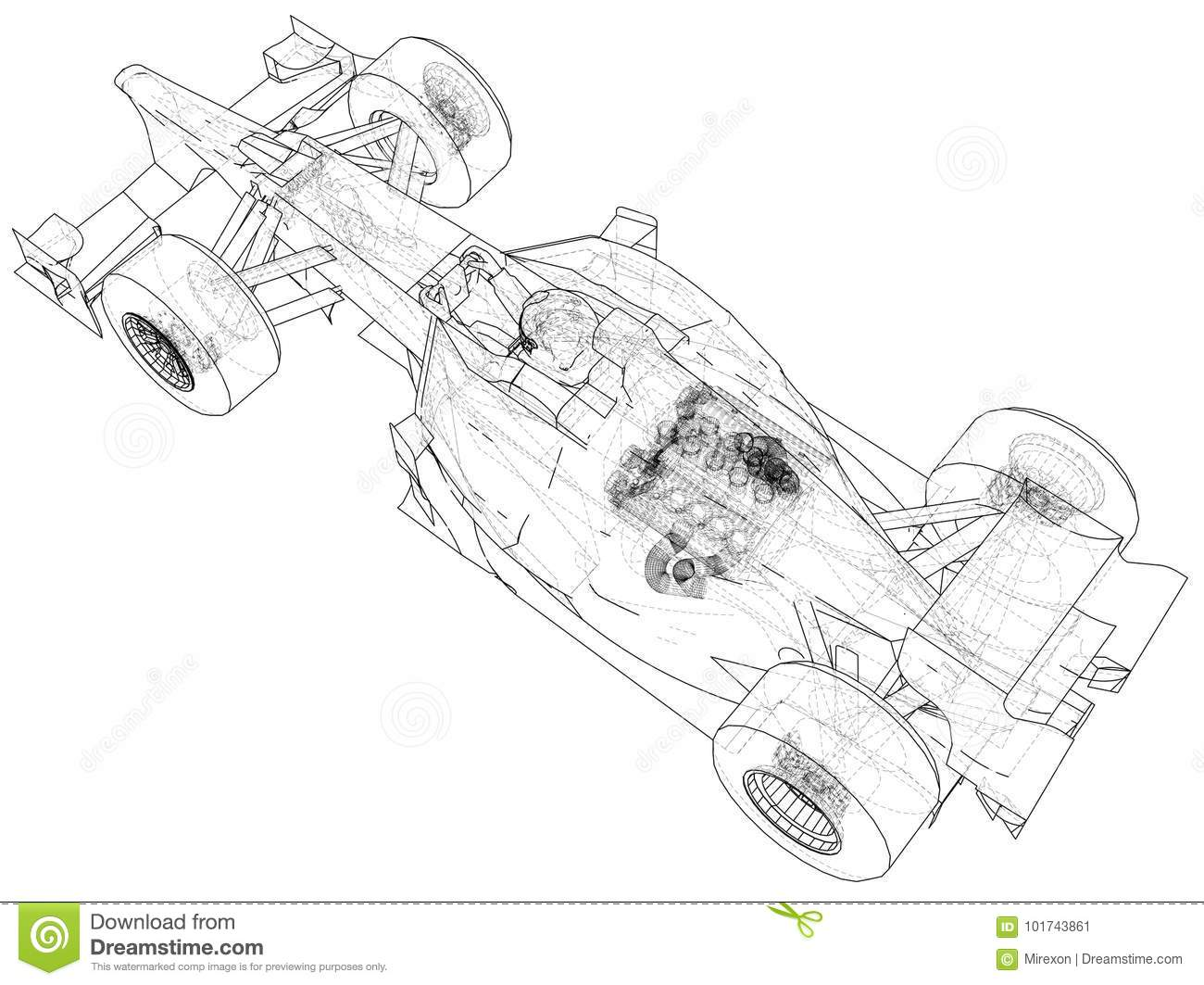 Model Speed Car Abstract Drawing Tracing Illustration Of