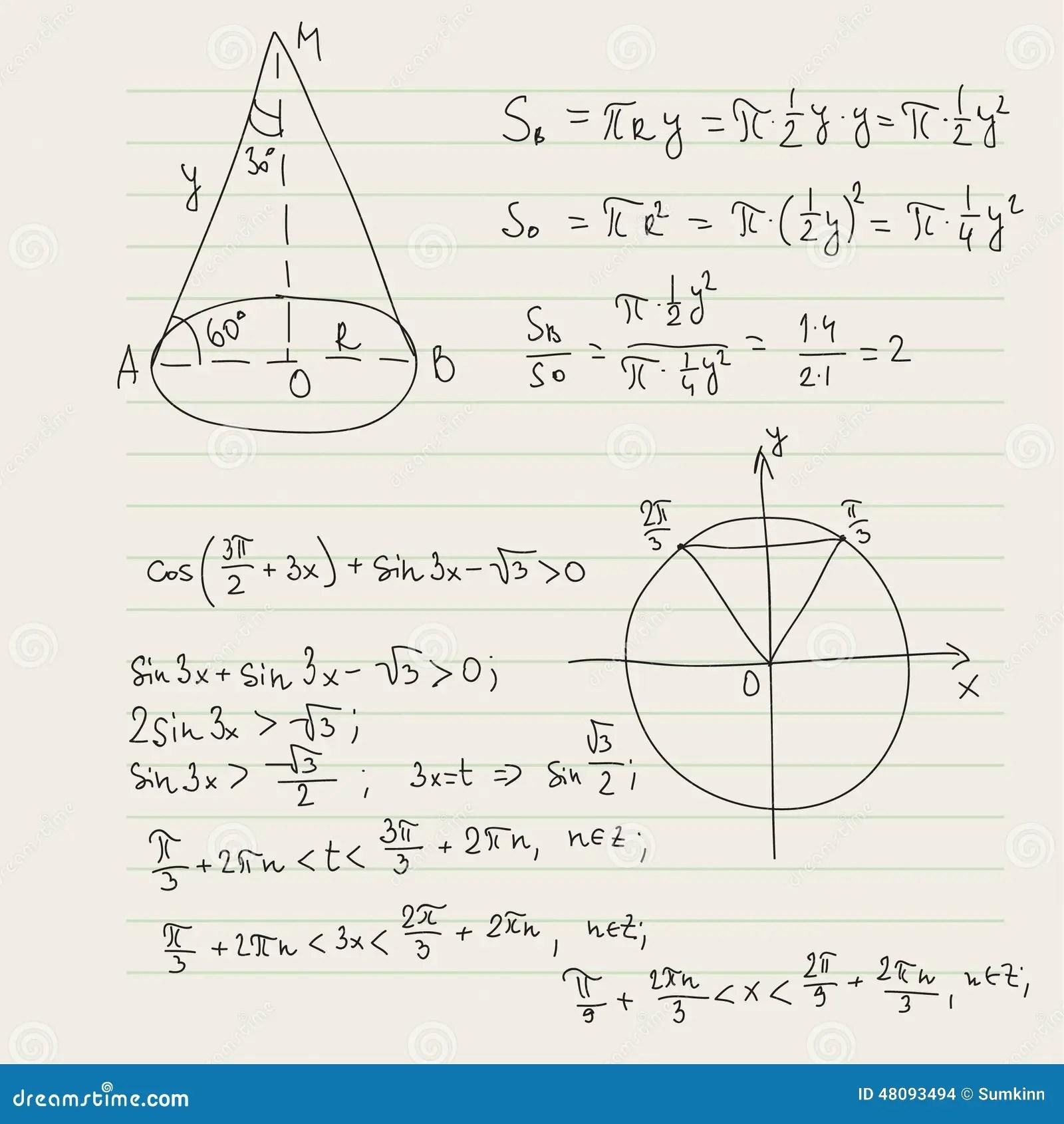 Modello Di Vettore Con Le Formule Matematiche Fotografia