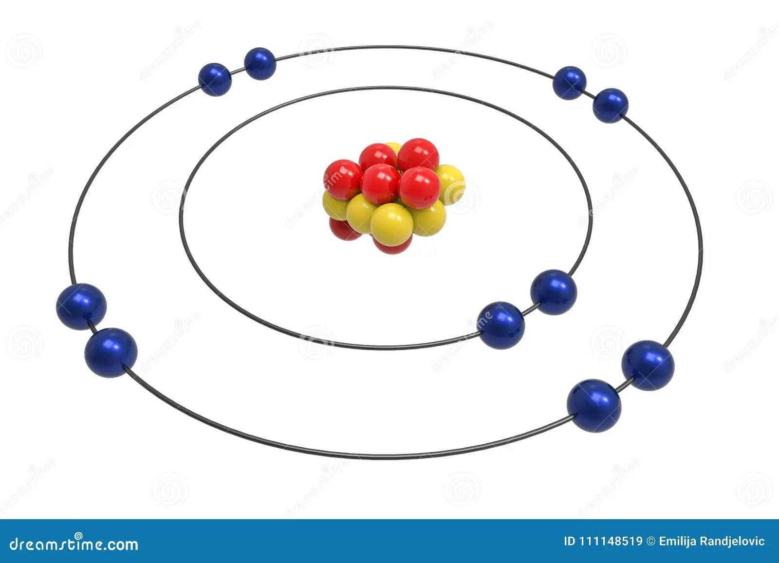 Modelo De Bohr Del átomo De Neón Con El Protón El Neutrón Y