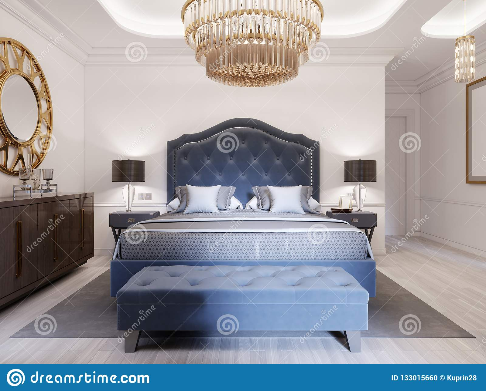 Modern Bed In Classic Blue Style With Bedside Table And Lamp Large Glass Chandelier Over A Dresser With A Decor And A Golden Stock Illustration Illustration Of Contemporary Decoration 133015660