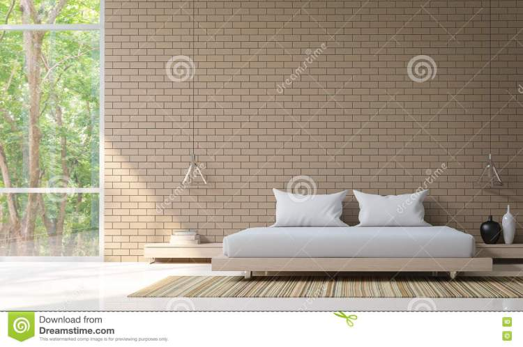 Modern Bedroom Decorate Wall With Brick 3d Rendering Image Stock Illustration Illustration Of Decorate Life 82117047
