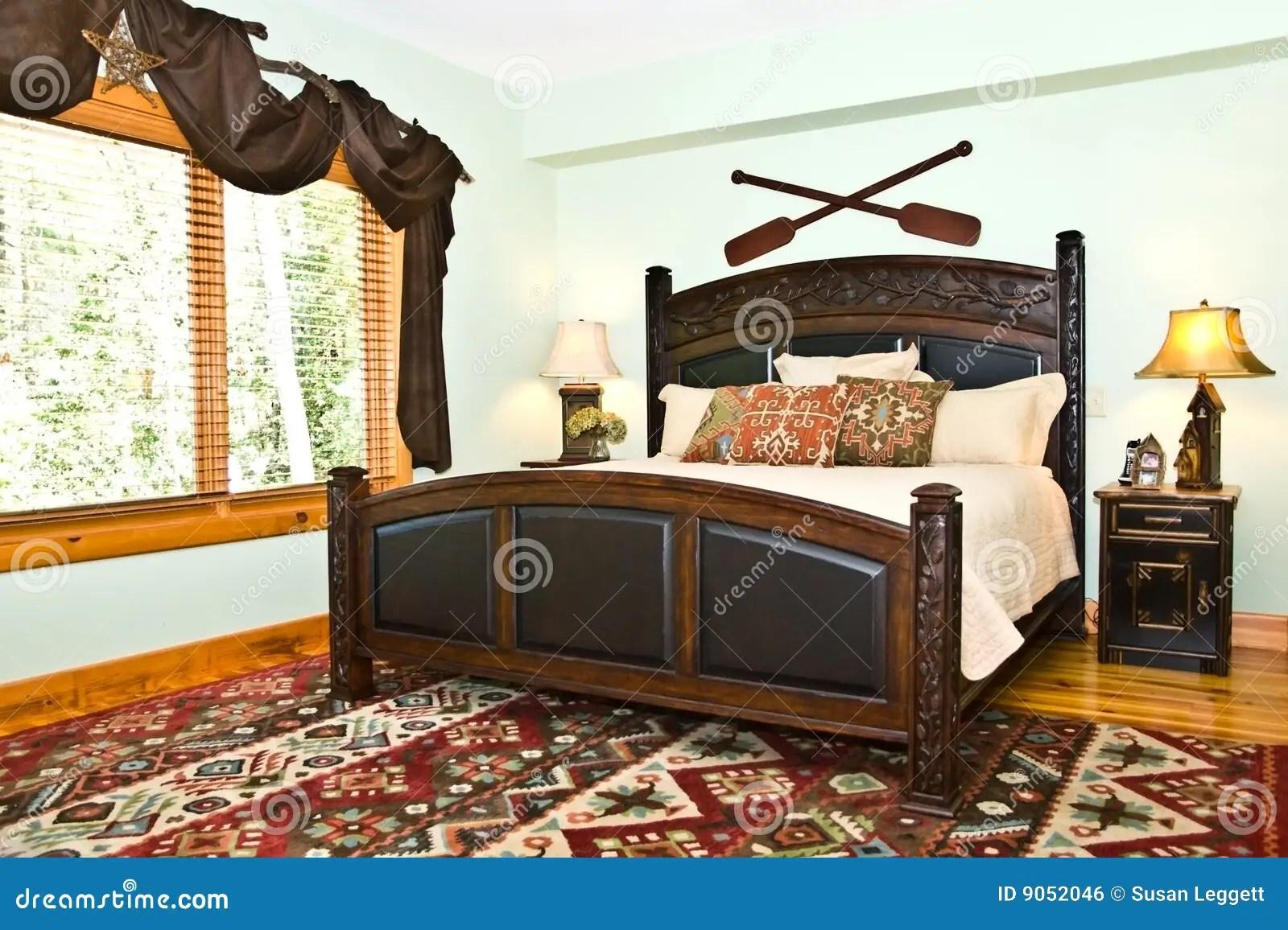 Modern Bedroom Rustic Decor Stock Photo