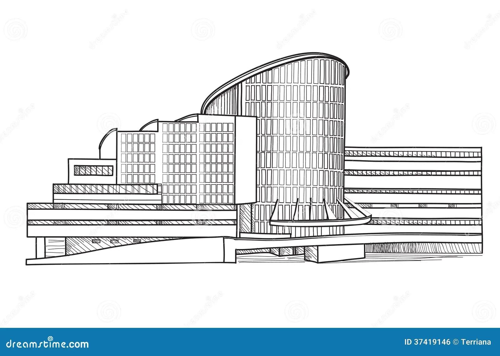Modern Building Architectural Sketch Cityscape
