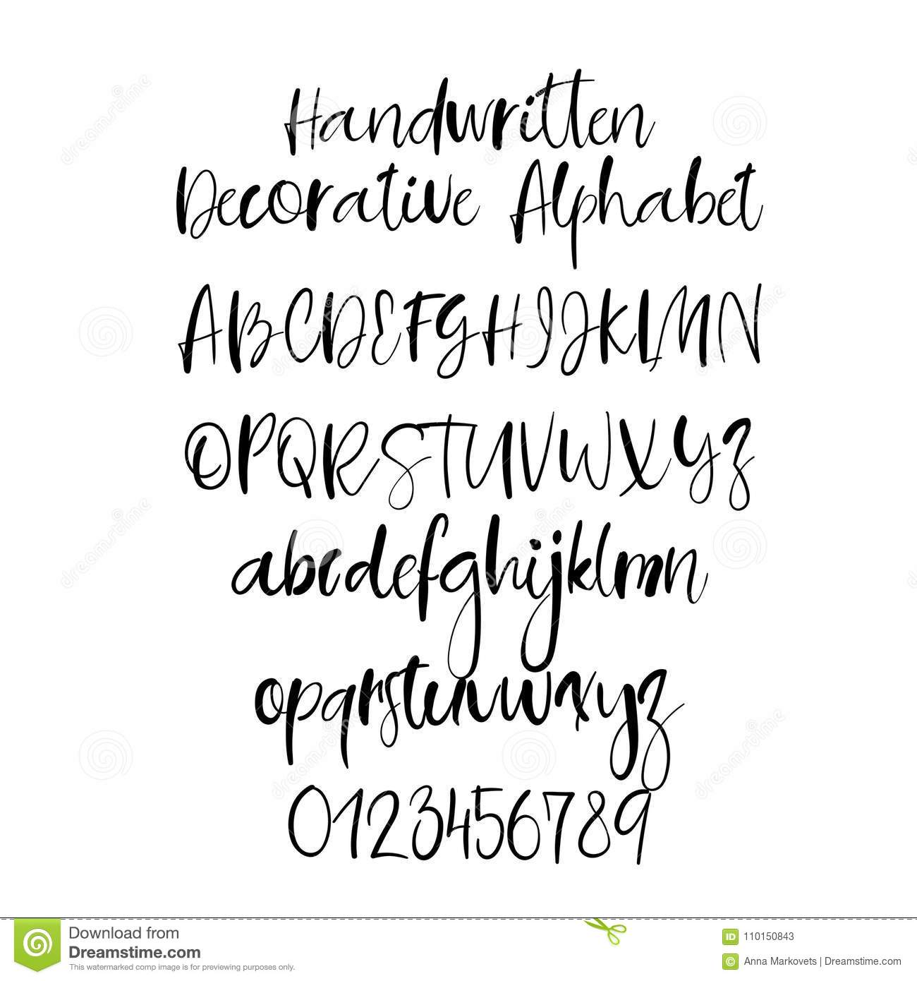 Decorative Hand Drawn Alphabet Handwritten Brush Font