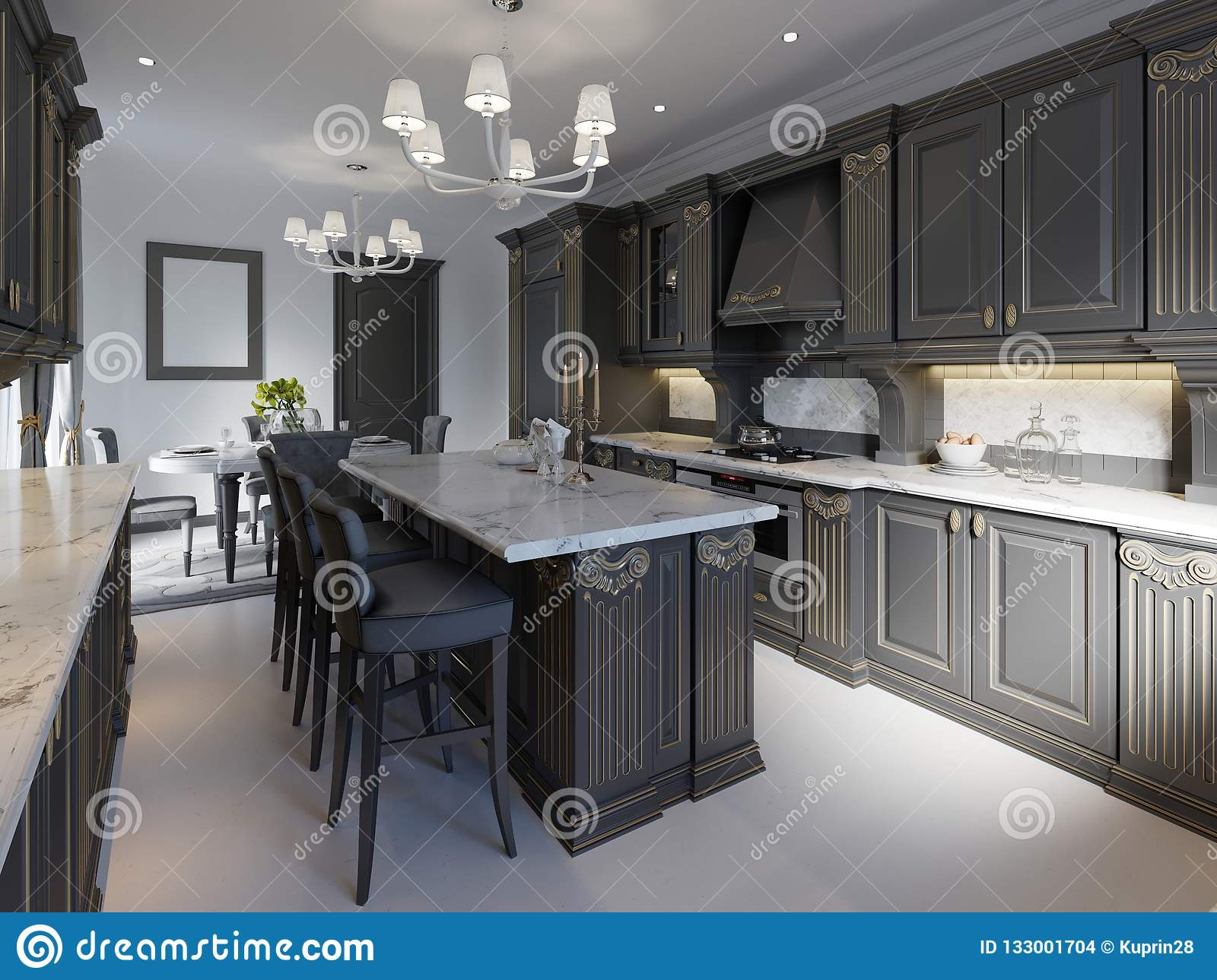 Modern Classic Kitchen Design With Black Cabinets And White