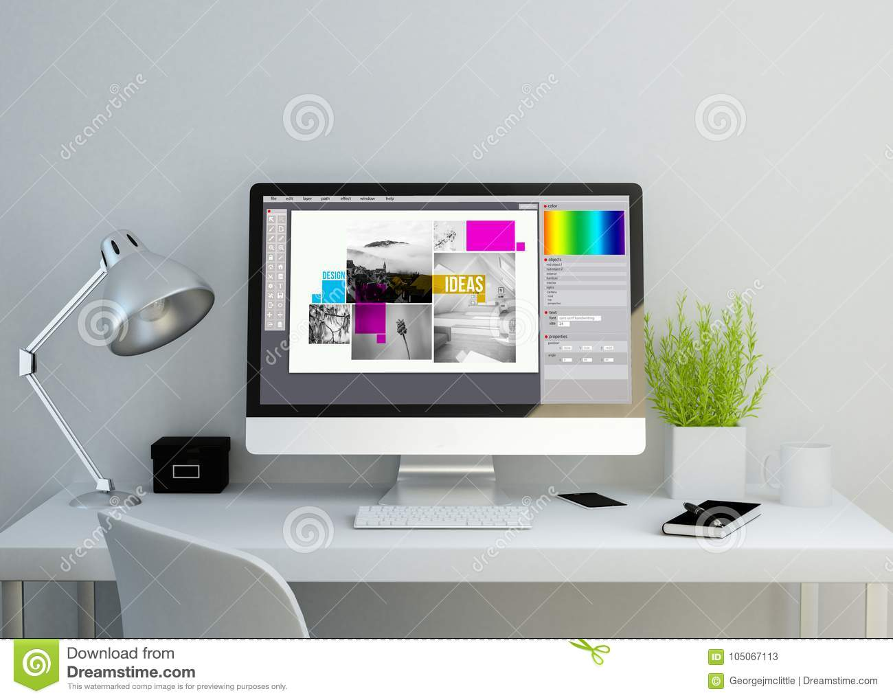 Best Kitchen Gallery: Modern Clean Workspace With Graphic Design Software On Screen Stock of Graphic Design Workspace  on rachelxblog.com