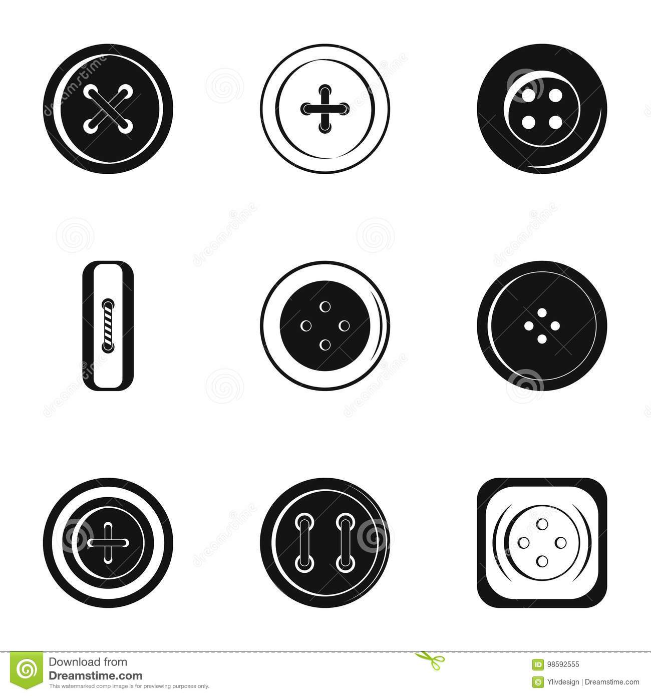 Modern Clothes Button Icon Set Simple Style Stock Vector