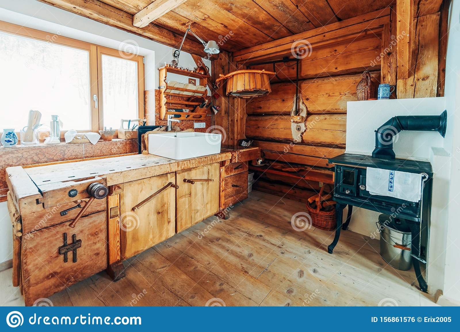 https www dreamstime com modern design home wooden kitchen interior sink oven made wood materials furniture house dining room brown color window image156861576