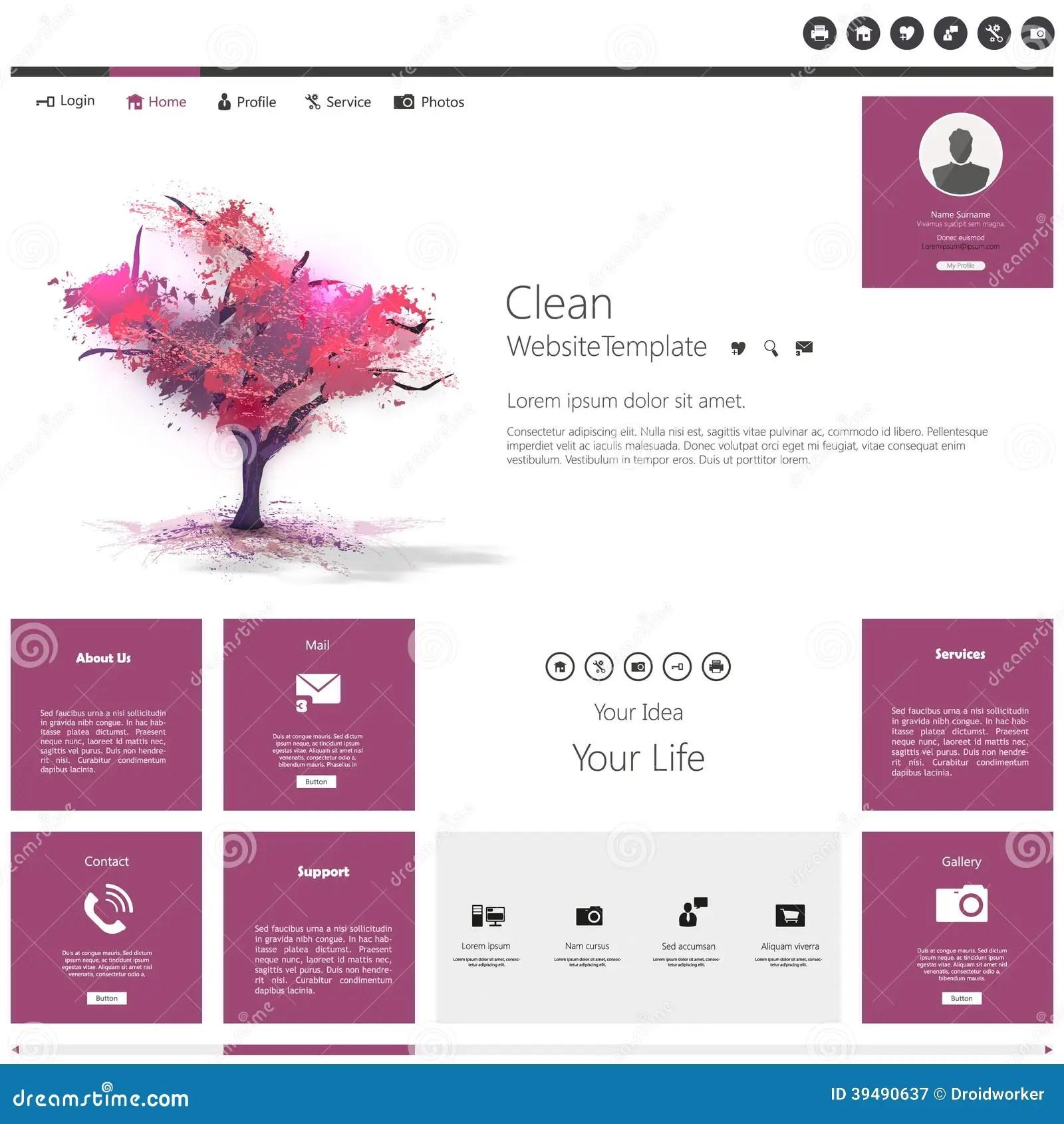 Modern Flat Website Template With Beautiful Flowering