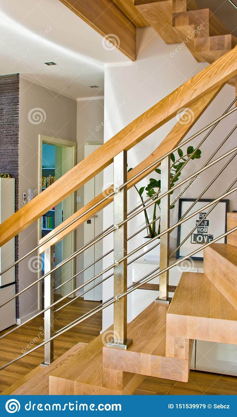 Modern Home Living Room Area With Wooden Stairs Stock Image | Staircase Inside Living Room | Kitchen Stair | Apartment | Inside Lounge | Staircase Tv | Private Home