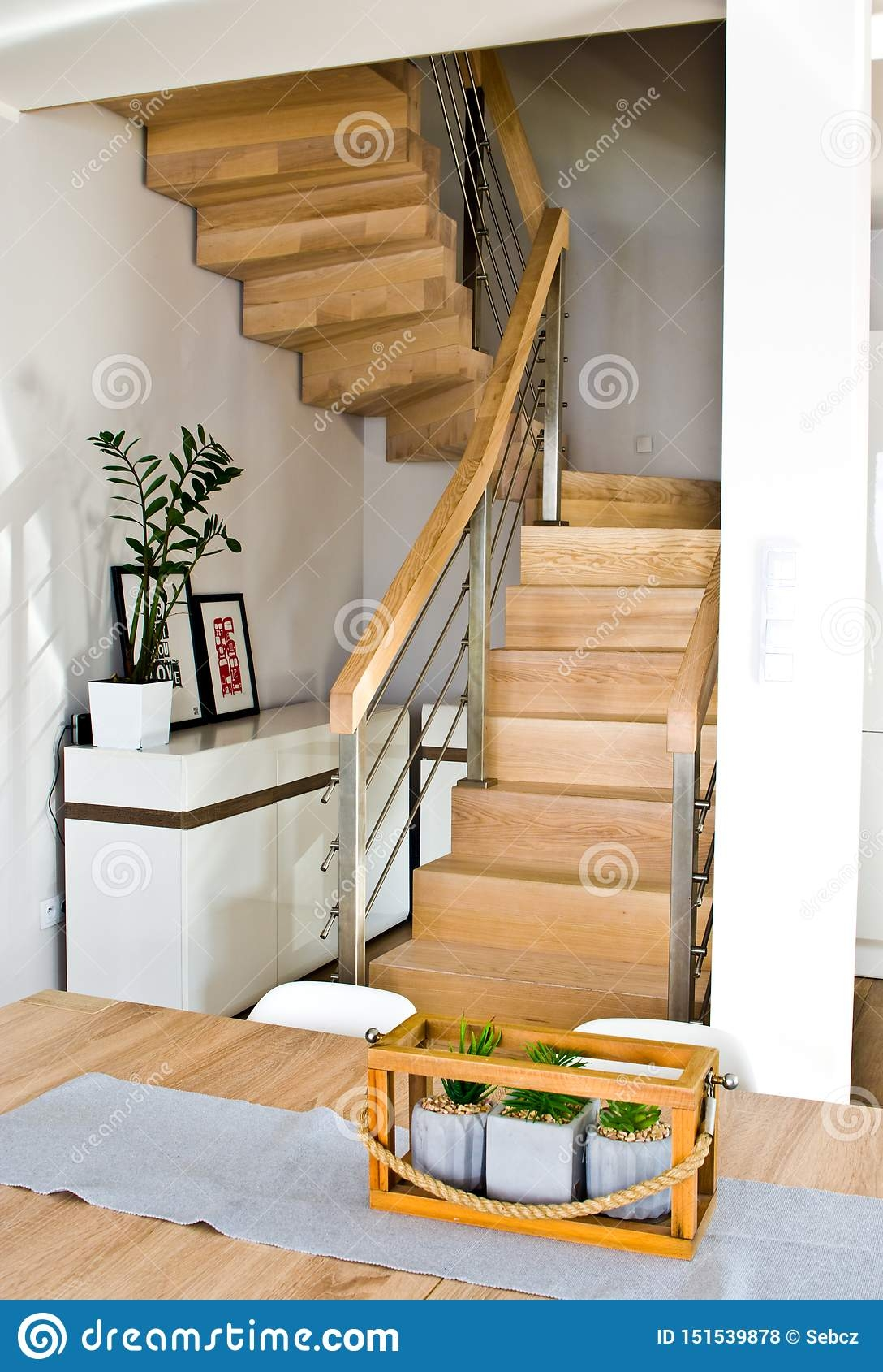 Modern Home Living Room Area With Wooden Stairs Stock Photo | Staircase Inside Living Room | Kitchen Stair | Apartment | Inside Lounge | Staircase Tv | Private Home