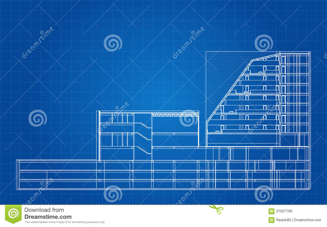 Modern Hotel Building Architectural Blueprint Royalty Free