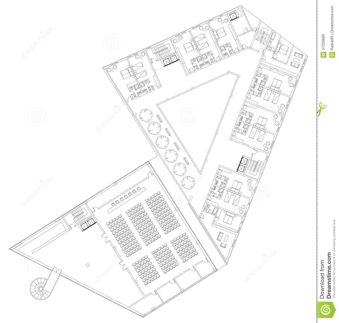 Modern Hotel Floor Architectural Plan Royalty Free Stock
