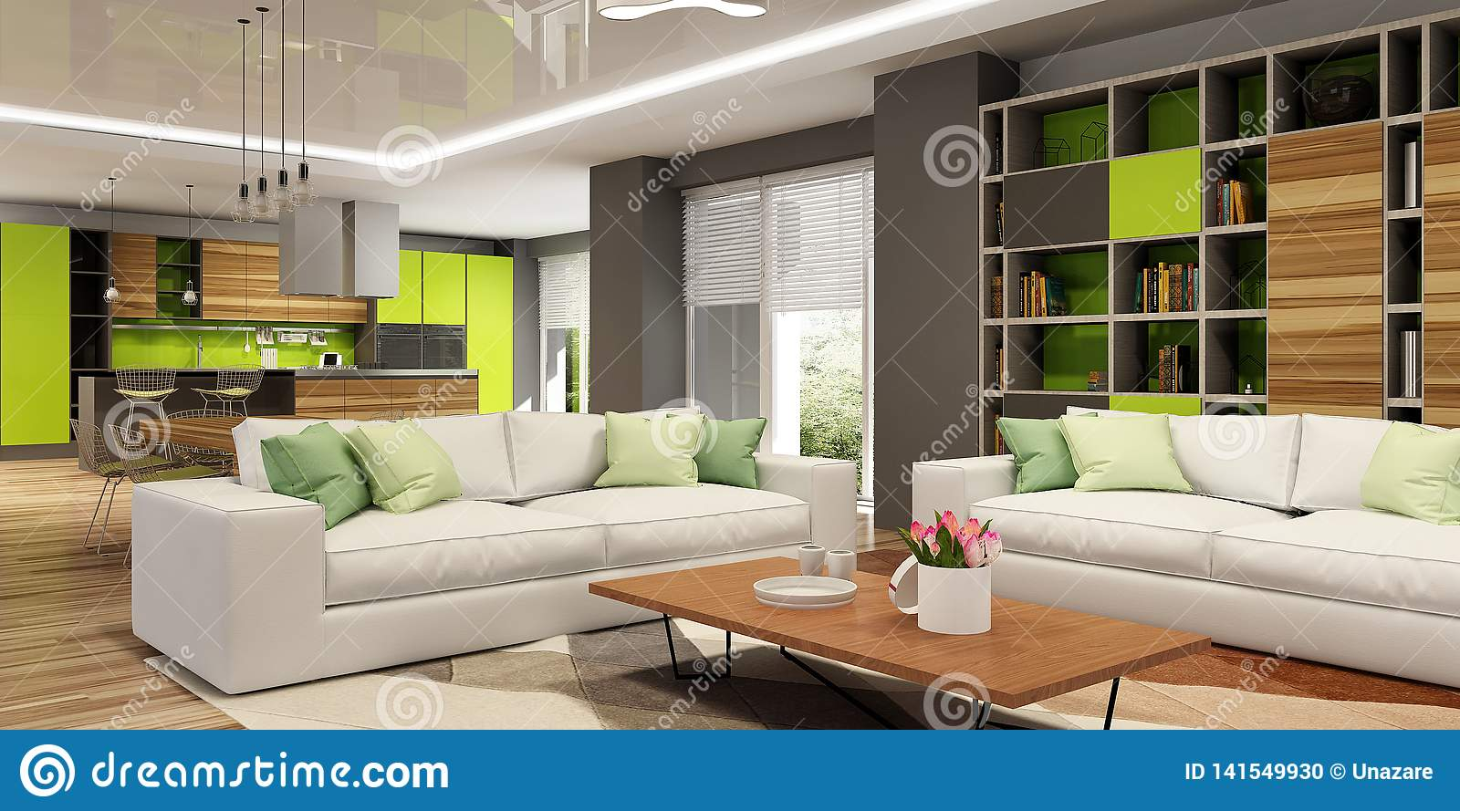 Modern House Interior Of Living Room And A Kitchen In Beige