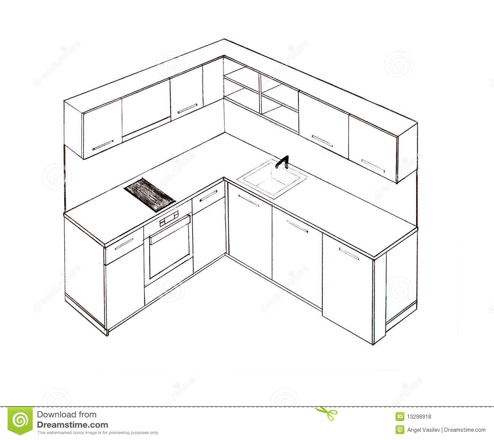 Modern Interior Design Kitchen Freehand Drawing Stock Illustration