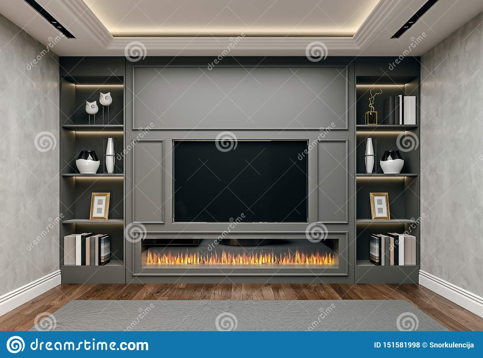 Modern Interior Design Of Living Room In Basement Close Up View Of Tv Wall With Book Shelves Stucco Plaster Stock Illustration Illustration Of Flowers Contemporary 151581998