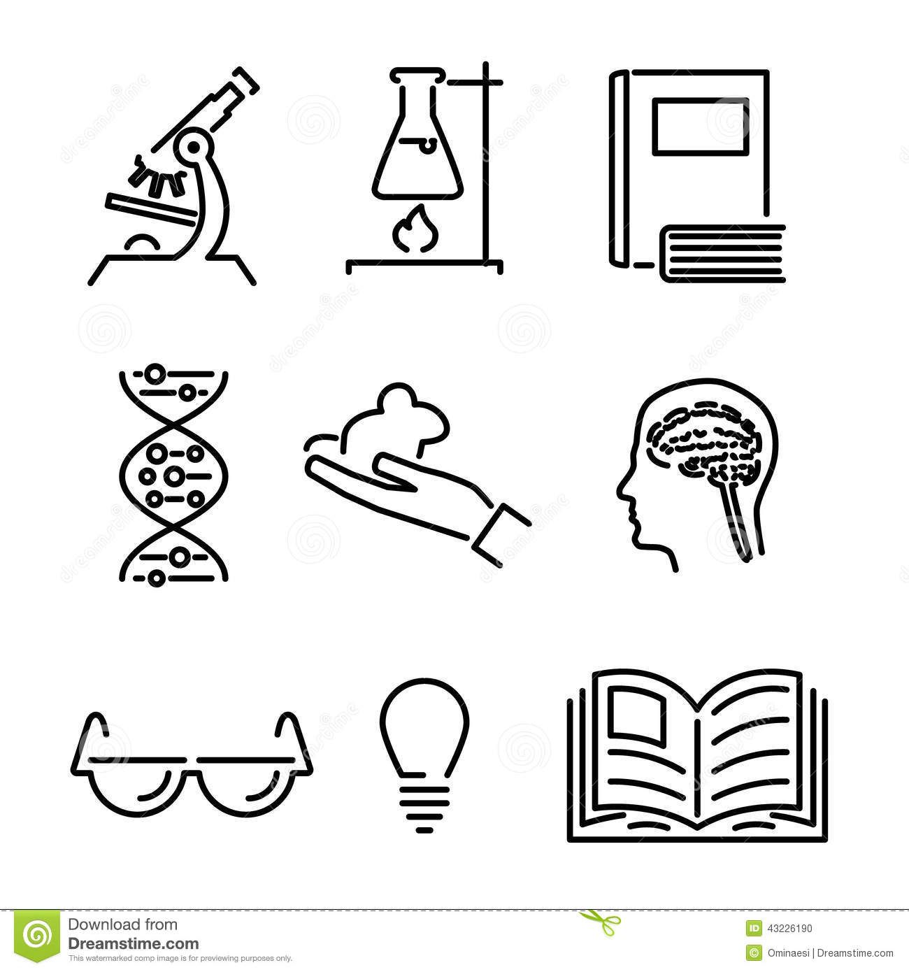 Modern Line Science Knowledge Study Icons And Stock Vector