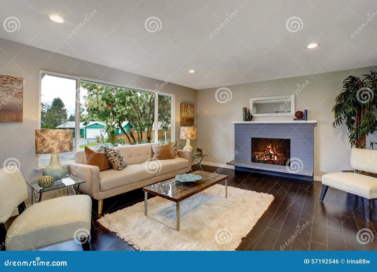 Modern Living Room With Dark Hardwood Floor Stock Photo