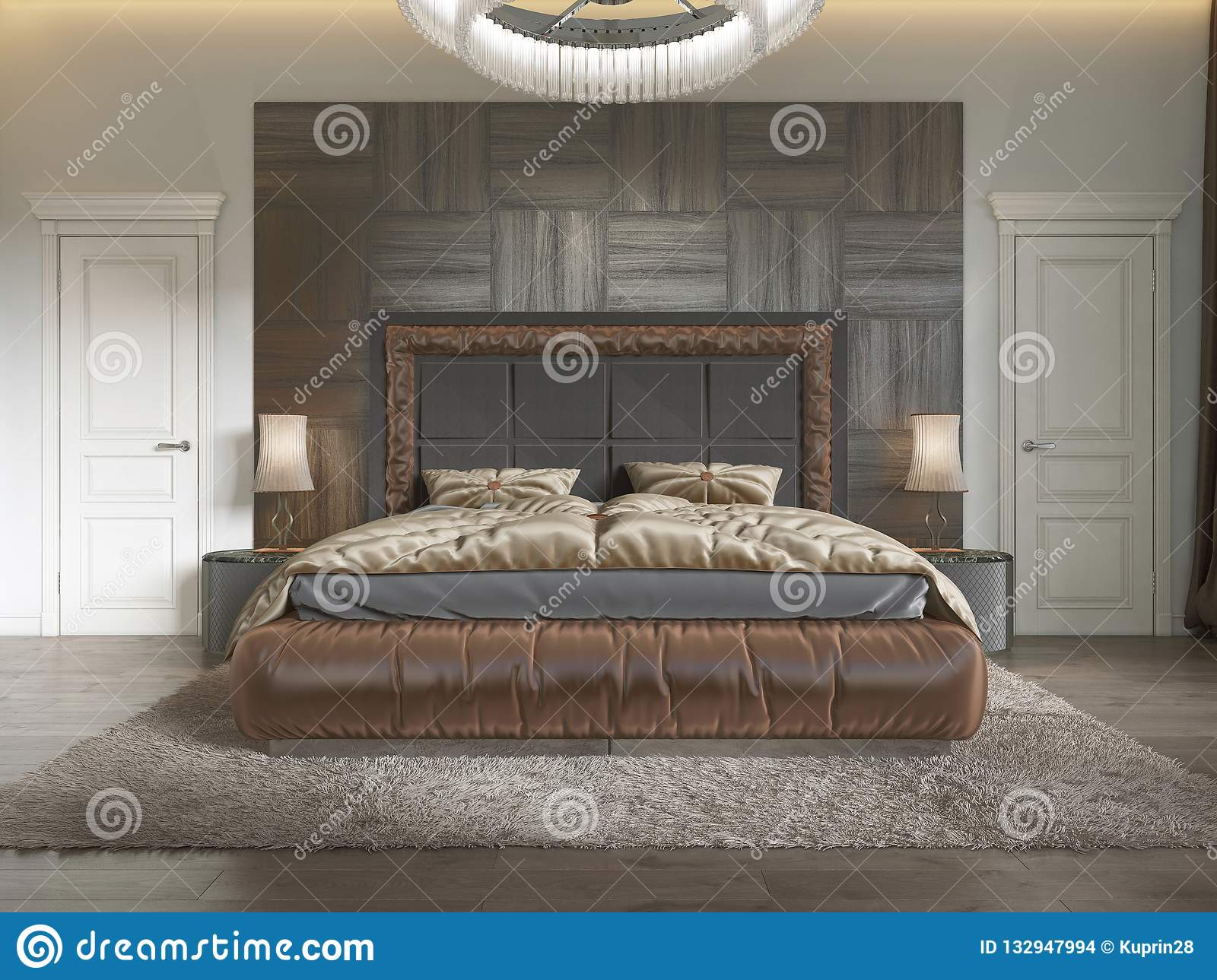 Modern Luxury Bed In Art Deco Style With Quilt And Wooden
