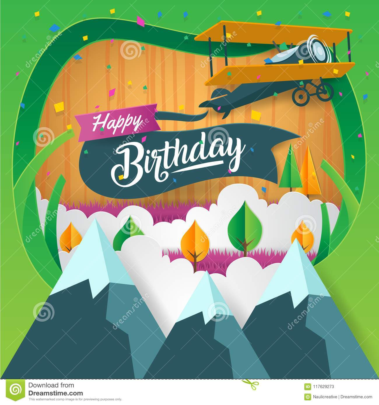 Modern Paper Art Style Back To Nature Adventure Happy Birthday Card Illustration Stock Vector Illustration Of Element Background 117629273