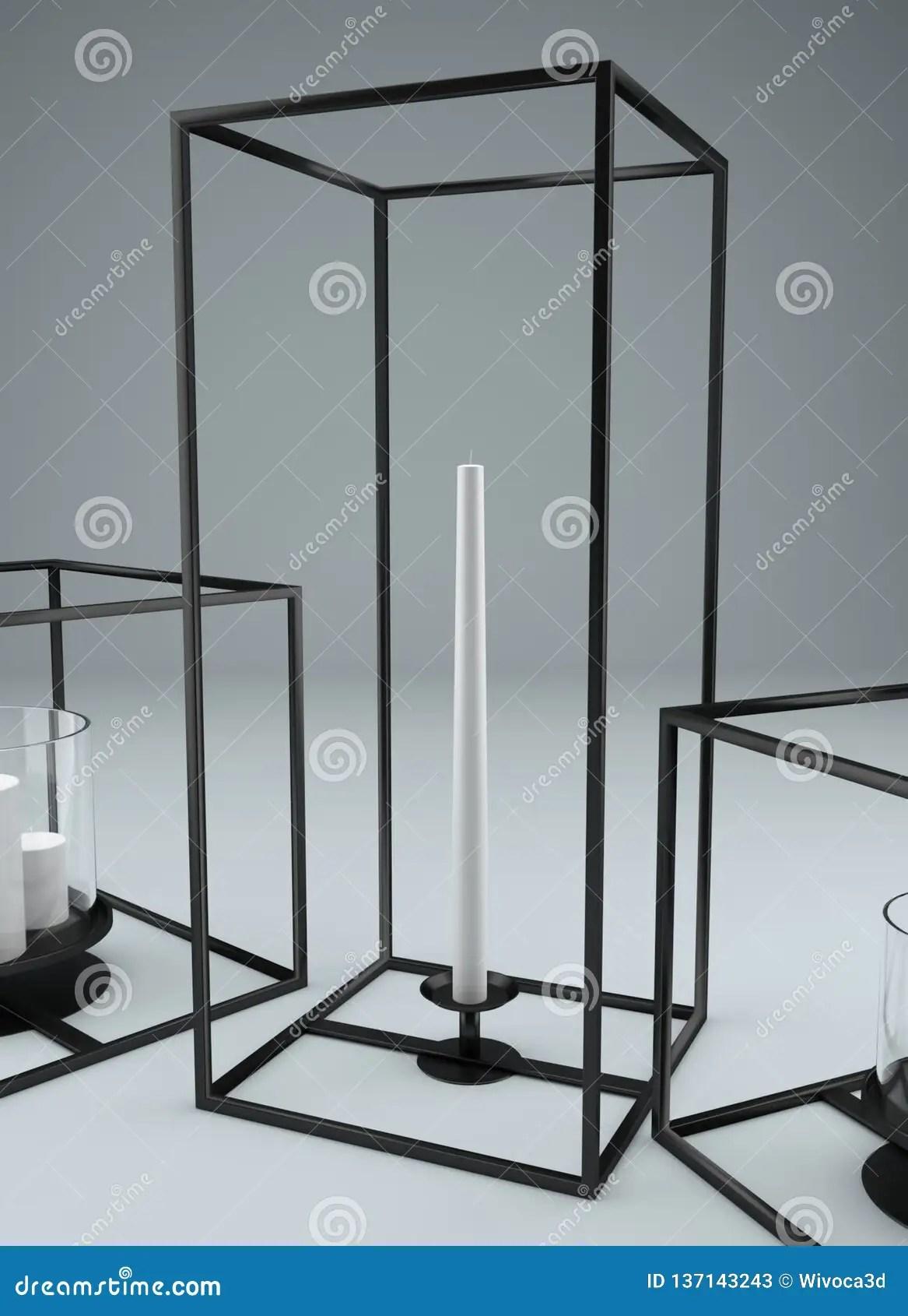 Modern Rectangular Metal Framed Candle Holder Stock Illustration Illustration Of Modern Rectangular 137143243