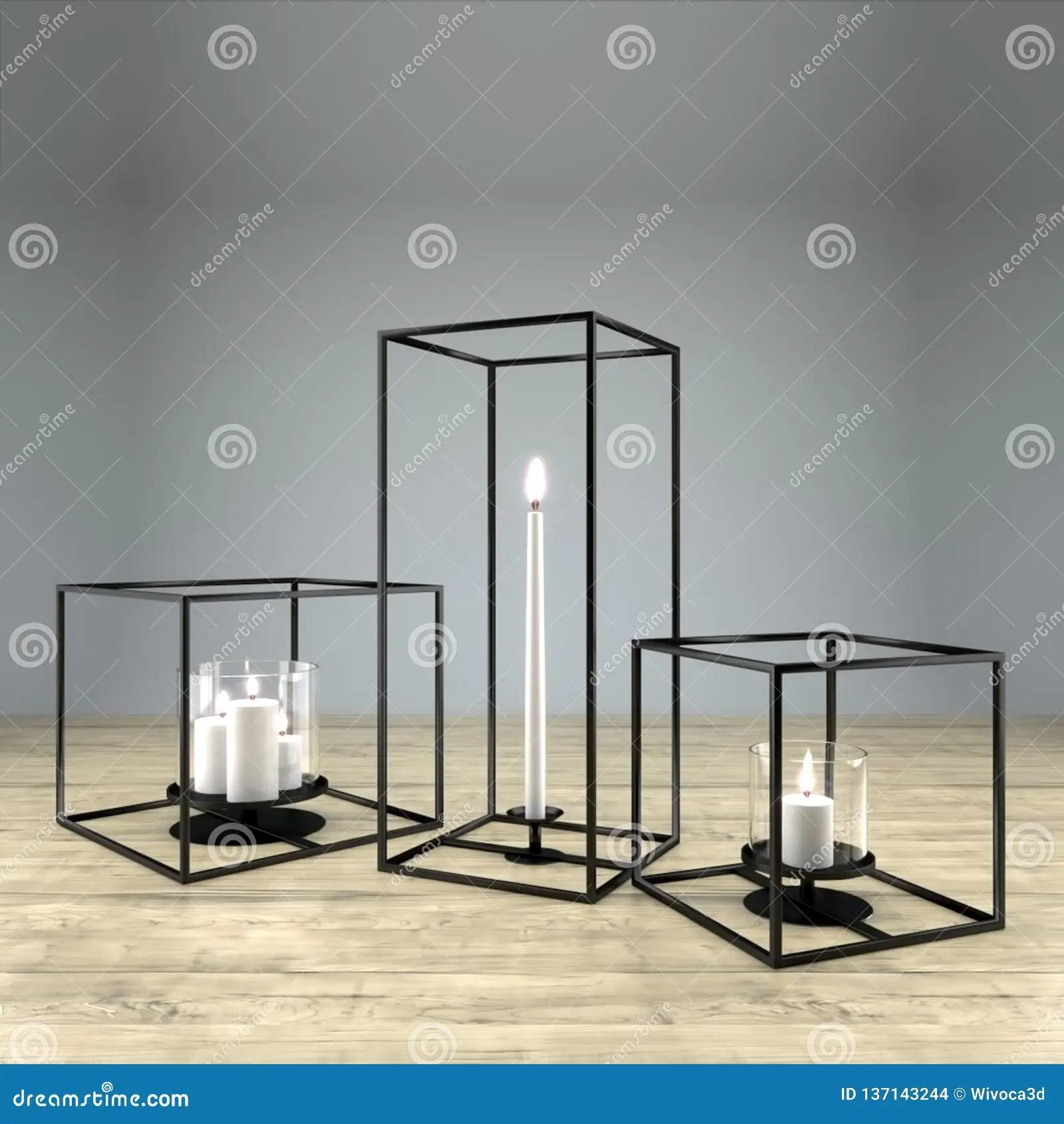 Modern Rectangular Metal Framed Candle Holder Stock Illustration Illustration Of Decorative Cube 137143244