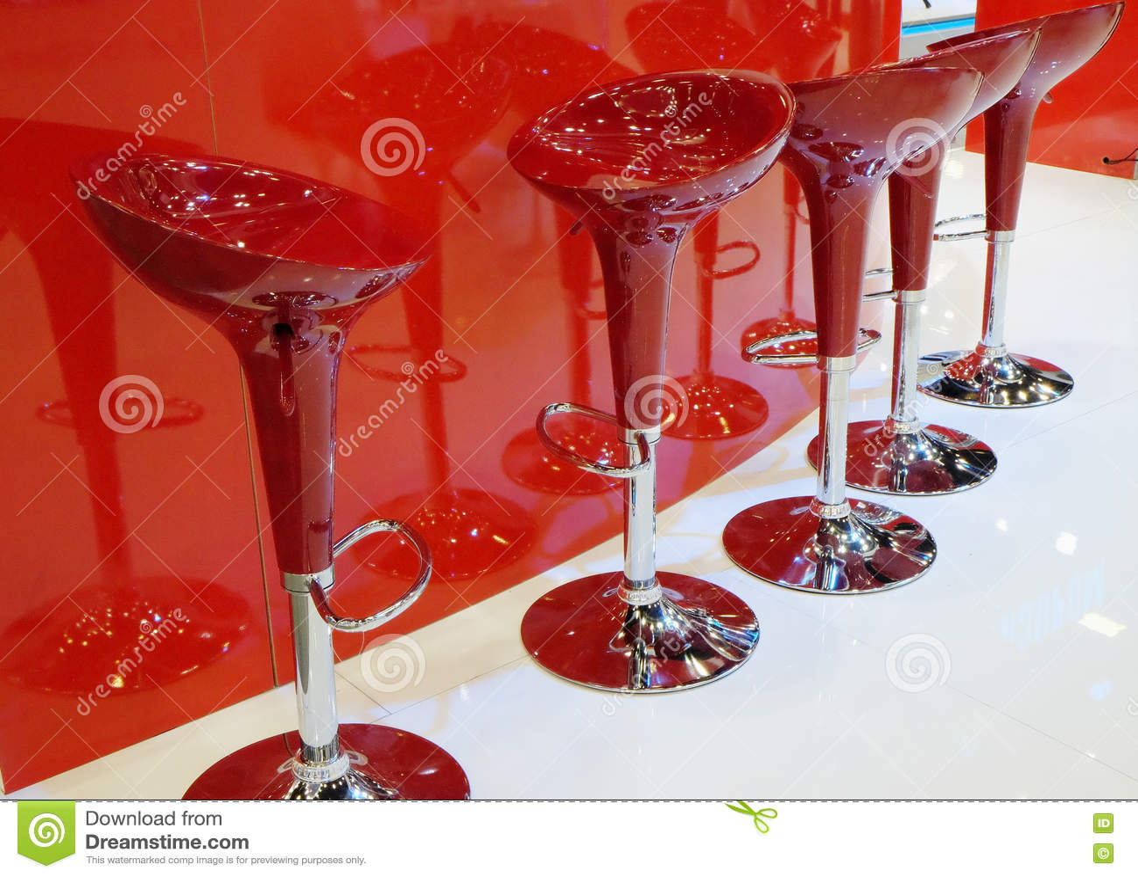 Modern Red Bar Stools Stock Image Image Of Modern Food 79047017