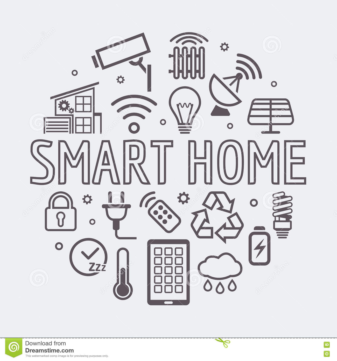 Vector Line Home Security Icons Set Stock Image