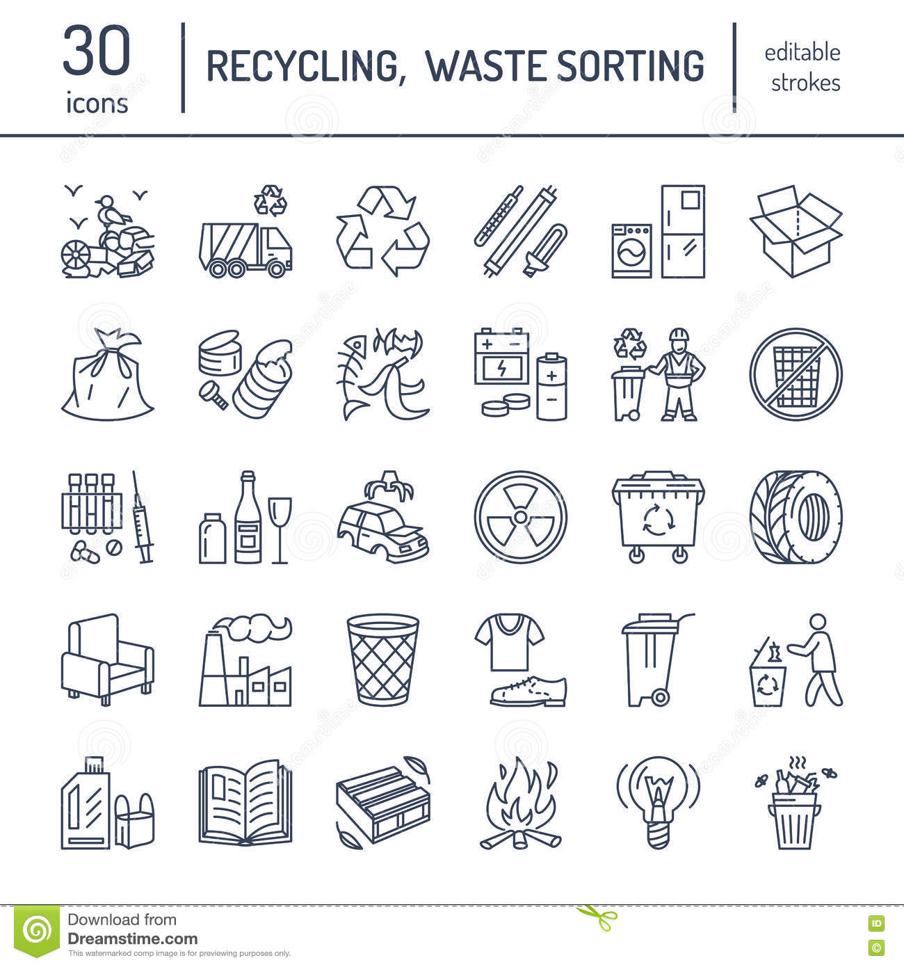 Modern Vector Line Icon Of Waste Sorting Recycling