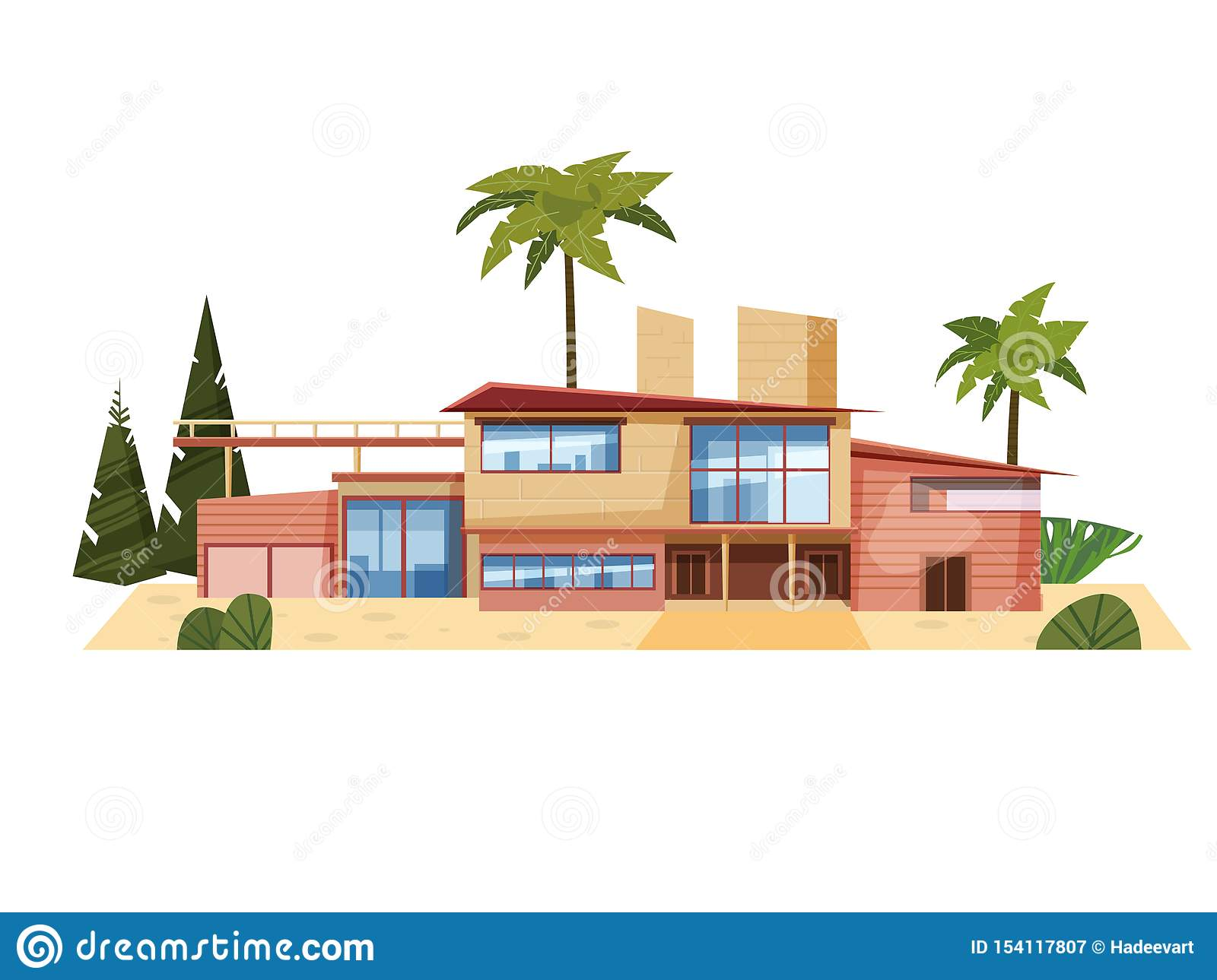 Modern Villa On Residence Expensive Mansion Palm Trees Luxury Cottage House Exterior Cartoon Vector Illustration Stock Vector Illustration Of Design Property 154117807