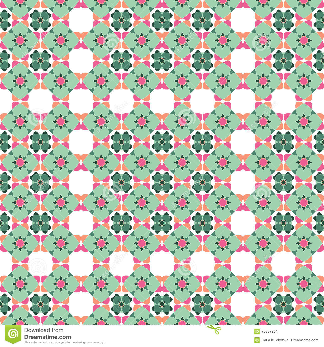 modern village seamless pattern, green ornament. stock vector