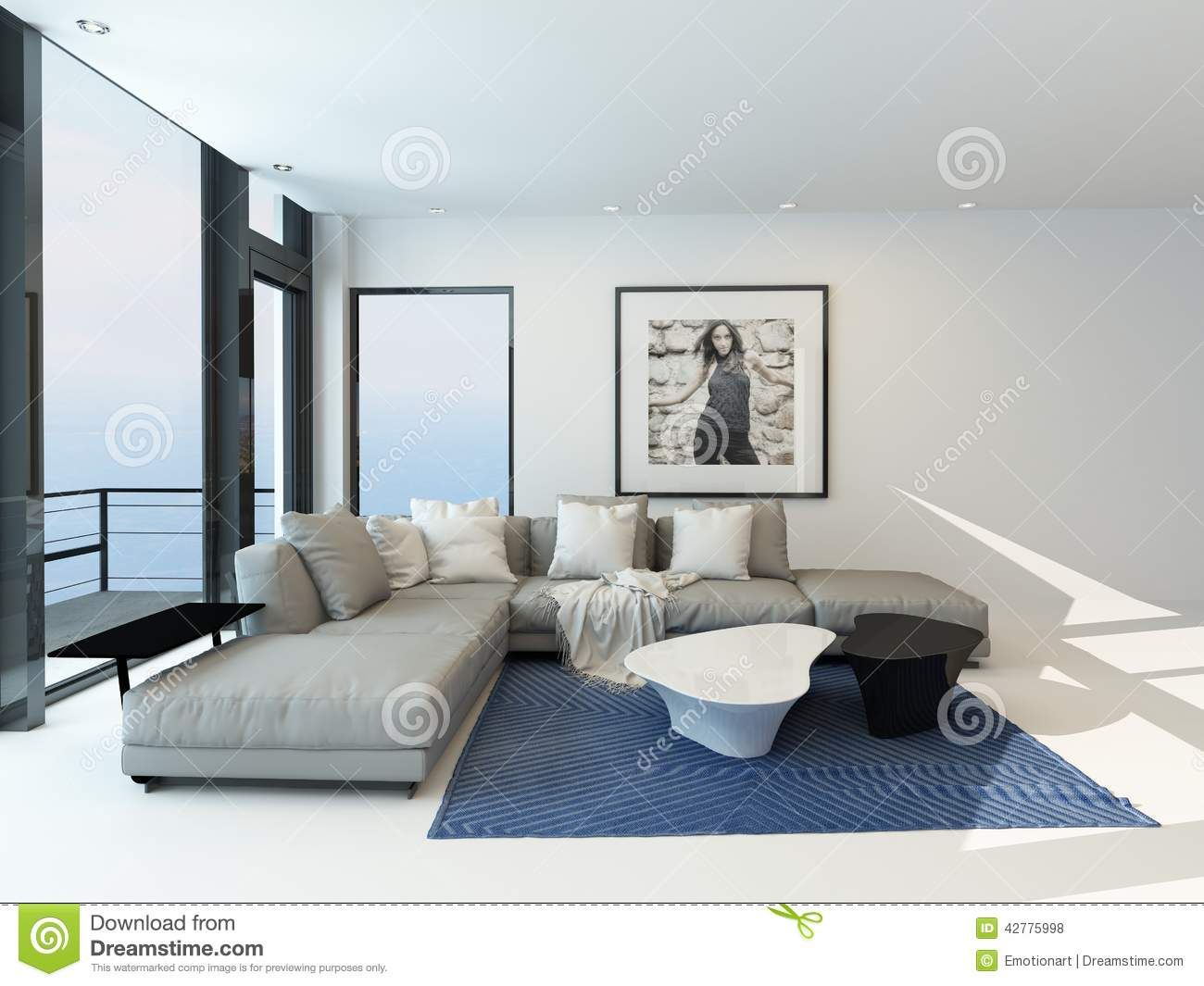 Modern Waterfront Living Room Interior Stock Illustration