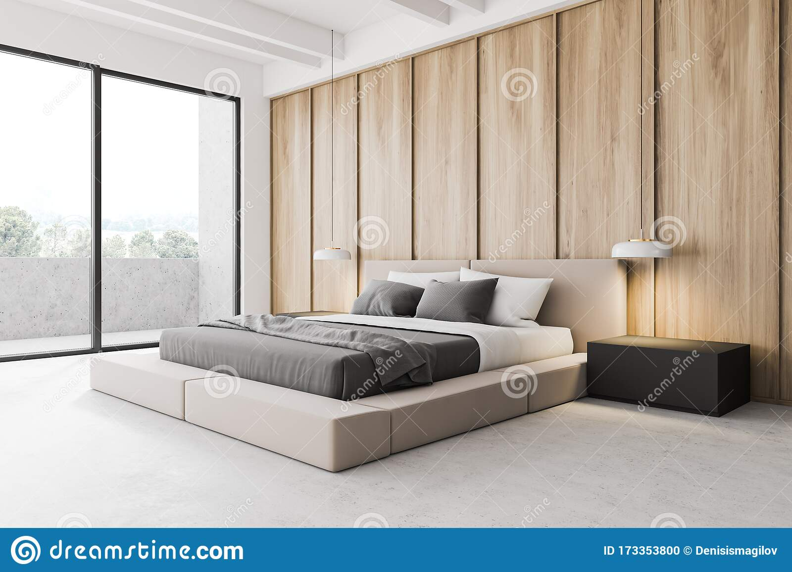 https www dreamstime com modern wooden master bedroom corner luxury balcony white walls concrete floor cozy king size bed two bedside tables lamps image173353800