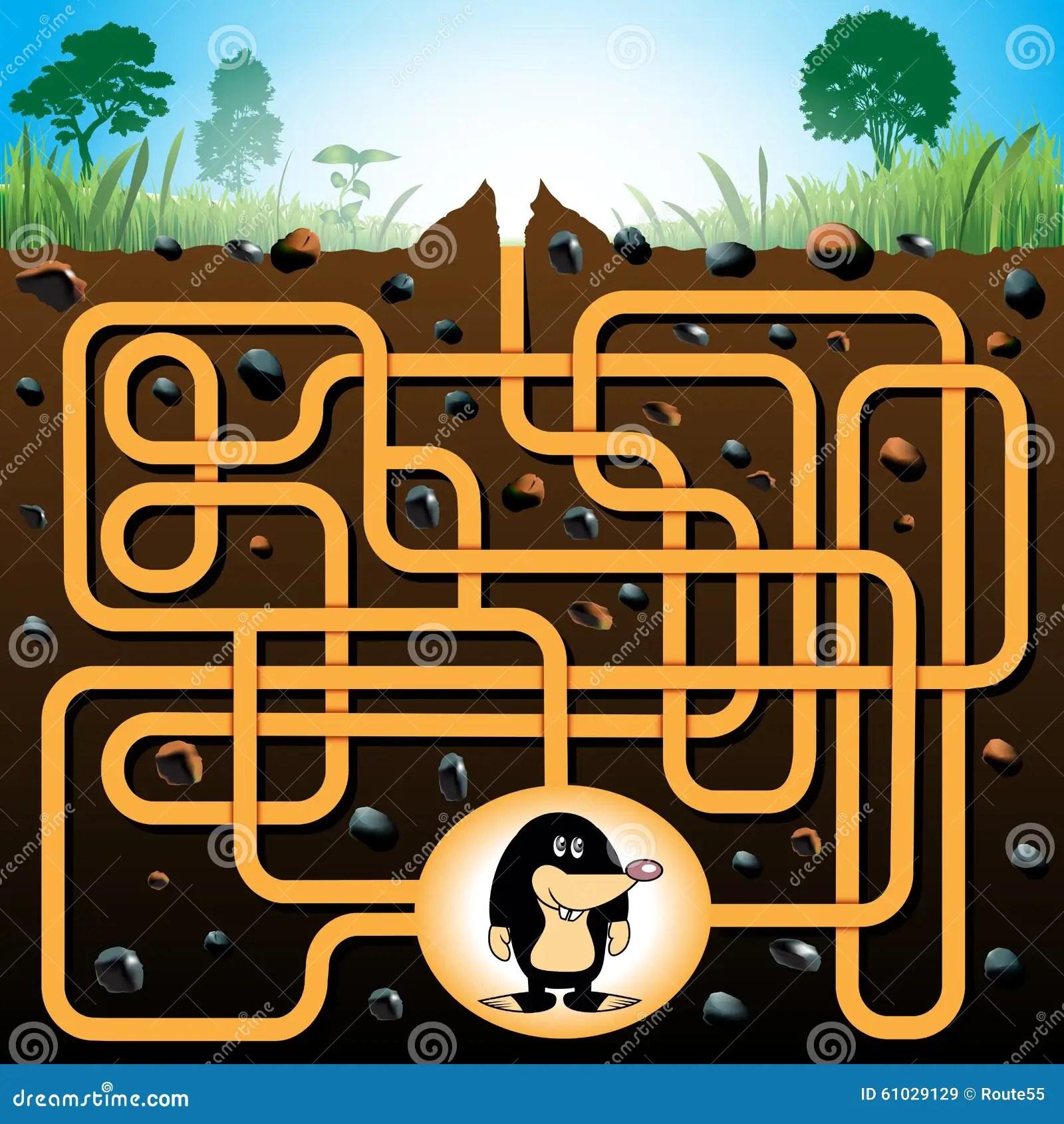 Mole And Molehill Maze Game Stock Vector