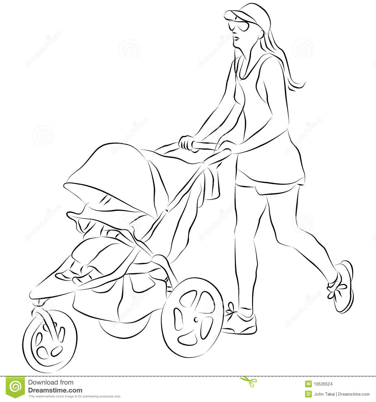 Mom Pusing Baby Stroller Stock Vector Illustration Of Graphic