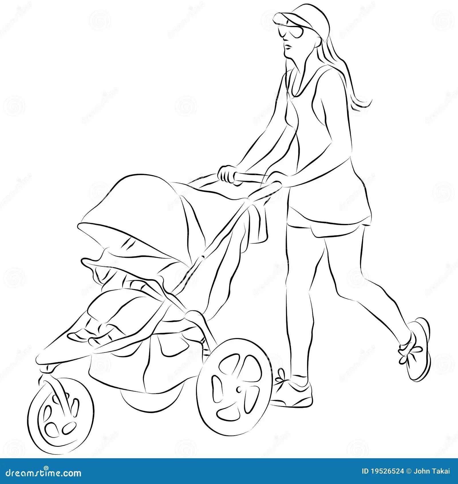 Mom Pusing Baby Stroller Stock Vector Illustration Of