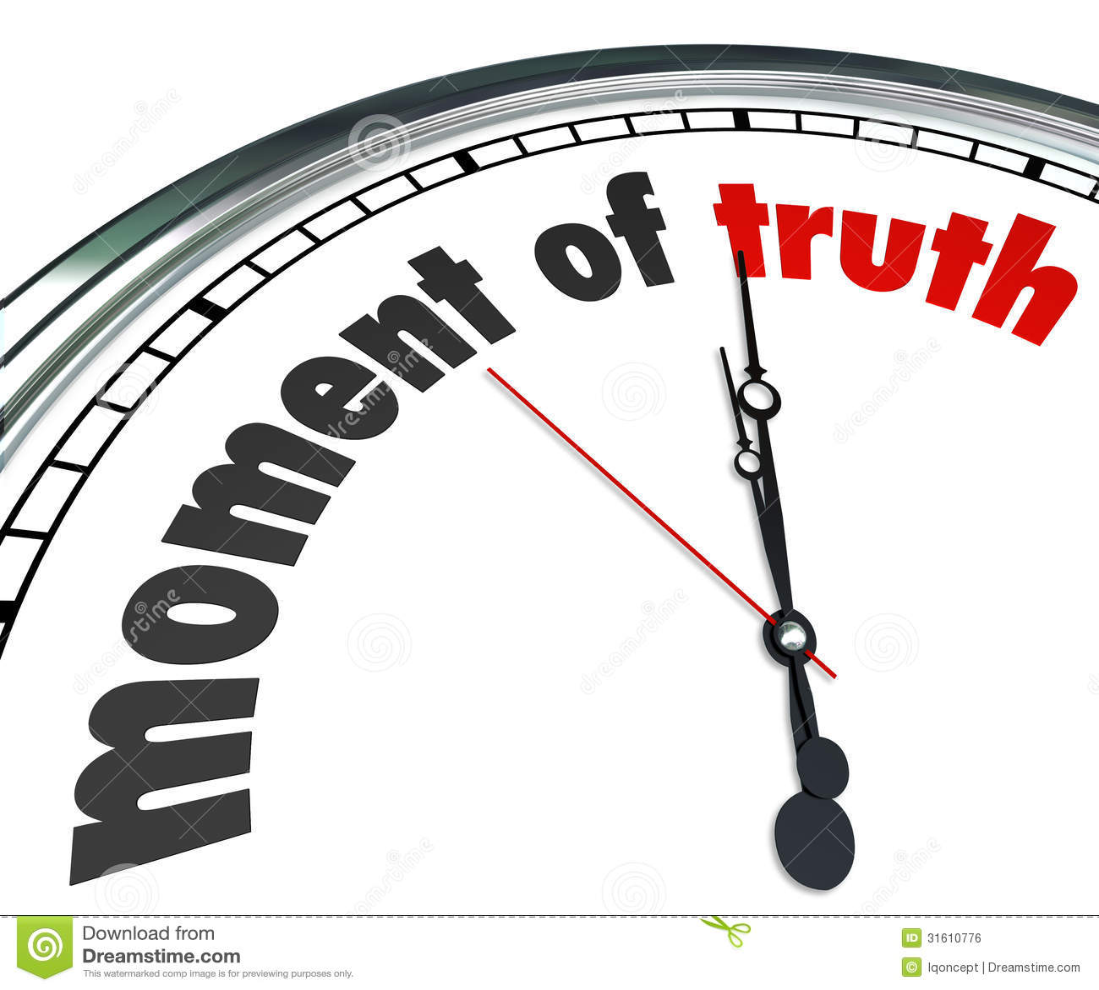 Moment Of Truth Clock Answer Outcome Verdict Announced Stock Illustration